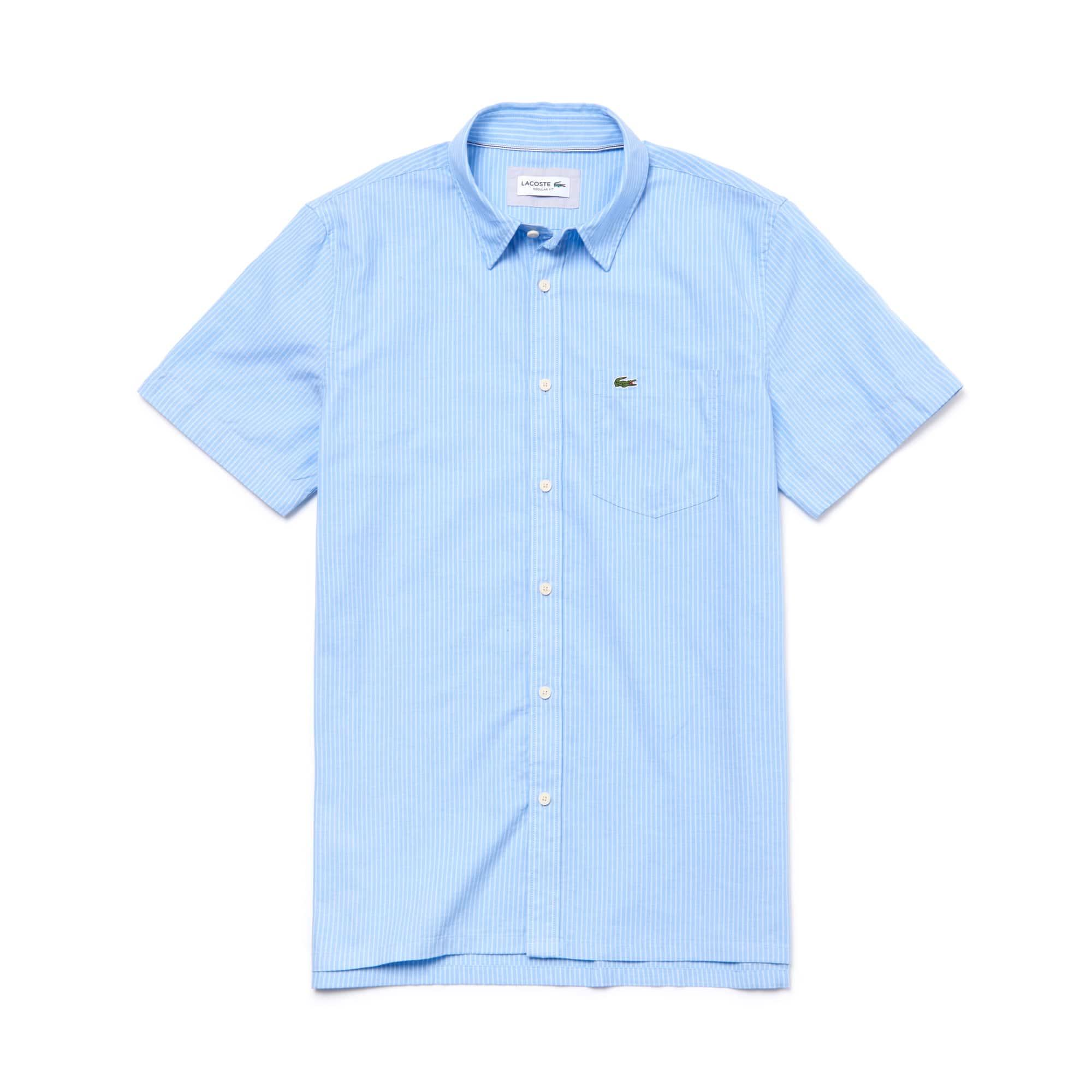 라코스테 반팔 카라티 Lacoste Mens Regular Fit Striped Cotton Canvas Shirt,hemisphere blue
