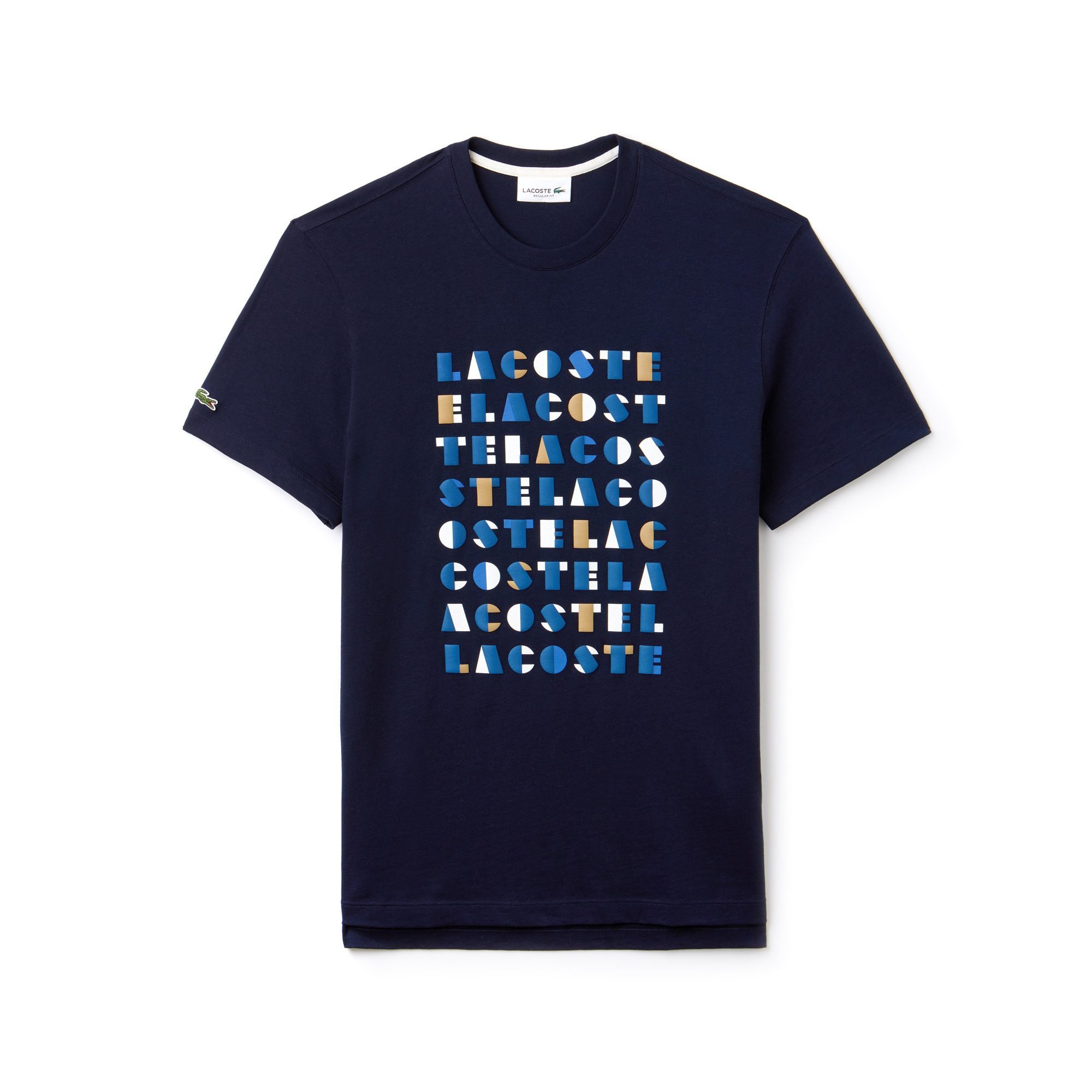Men's Crew Neck 3D Lettering Cotton Jersey T-shirt