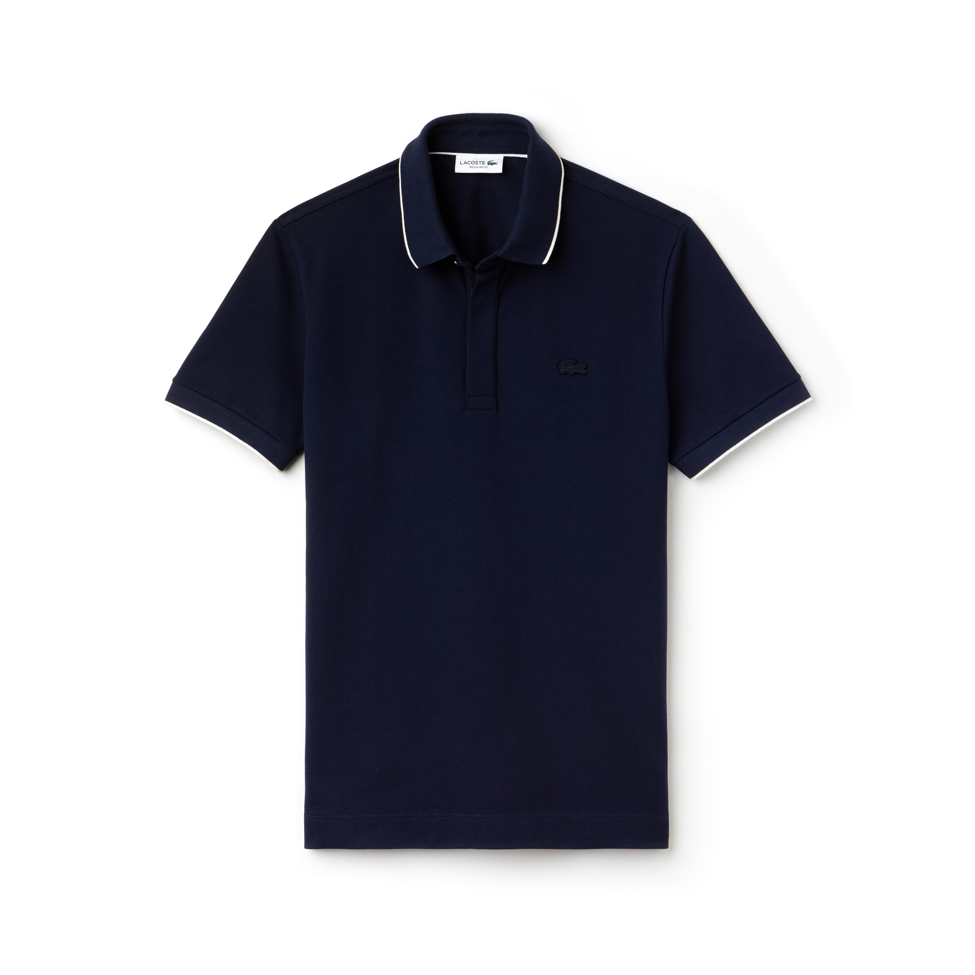 라코스테 Lacoste Mens Regular Fit Piped Stretch Pique Polo,navy blue/cake flour whit