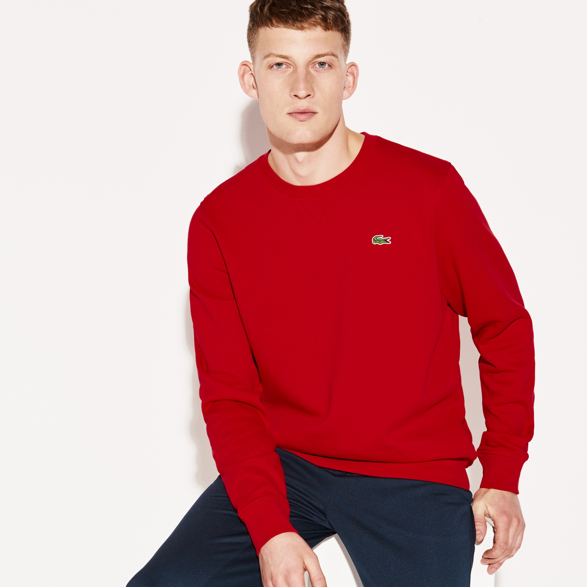 Men's  SPORT crew neck sweatshirt in solid fleece