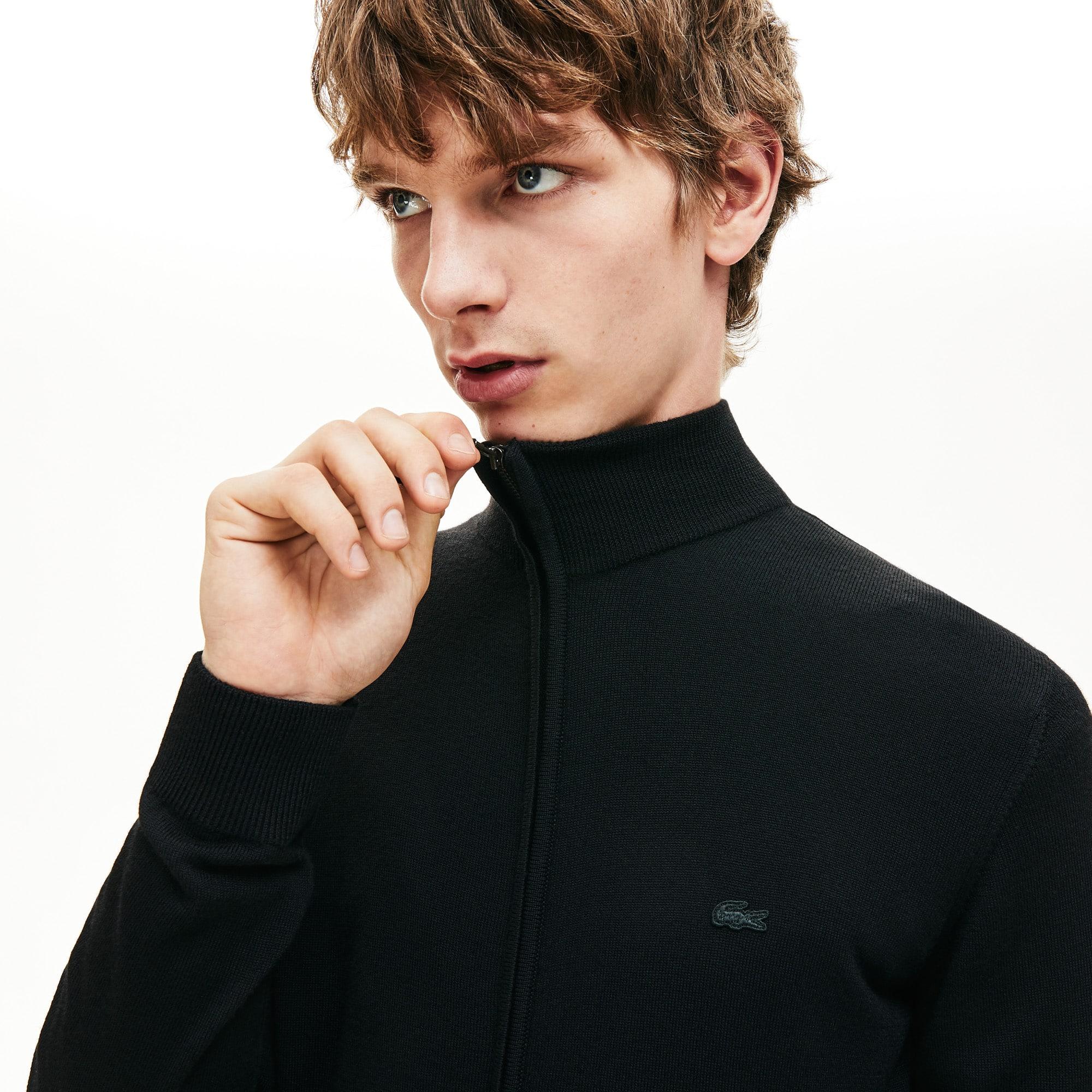 Men's Stand-Up Collar Wool Jersey Zippered Cardigan