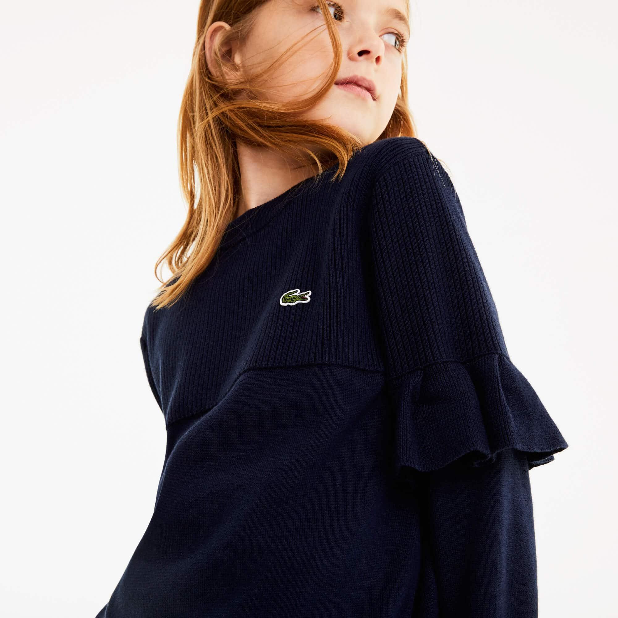 Lacoste Girls Ruffled Sleeves Sweater