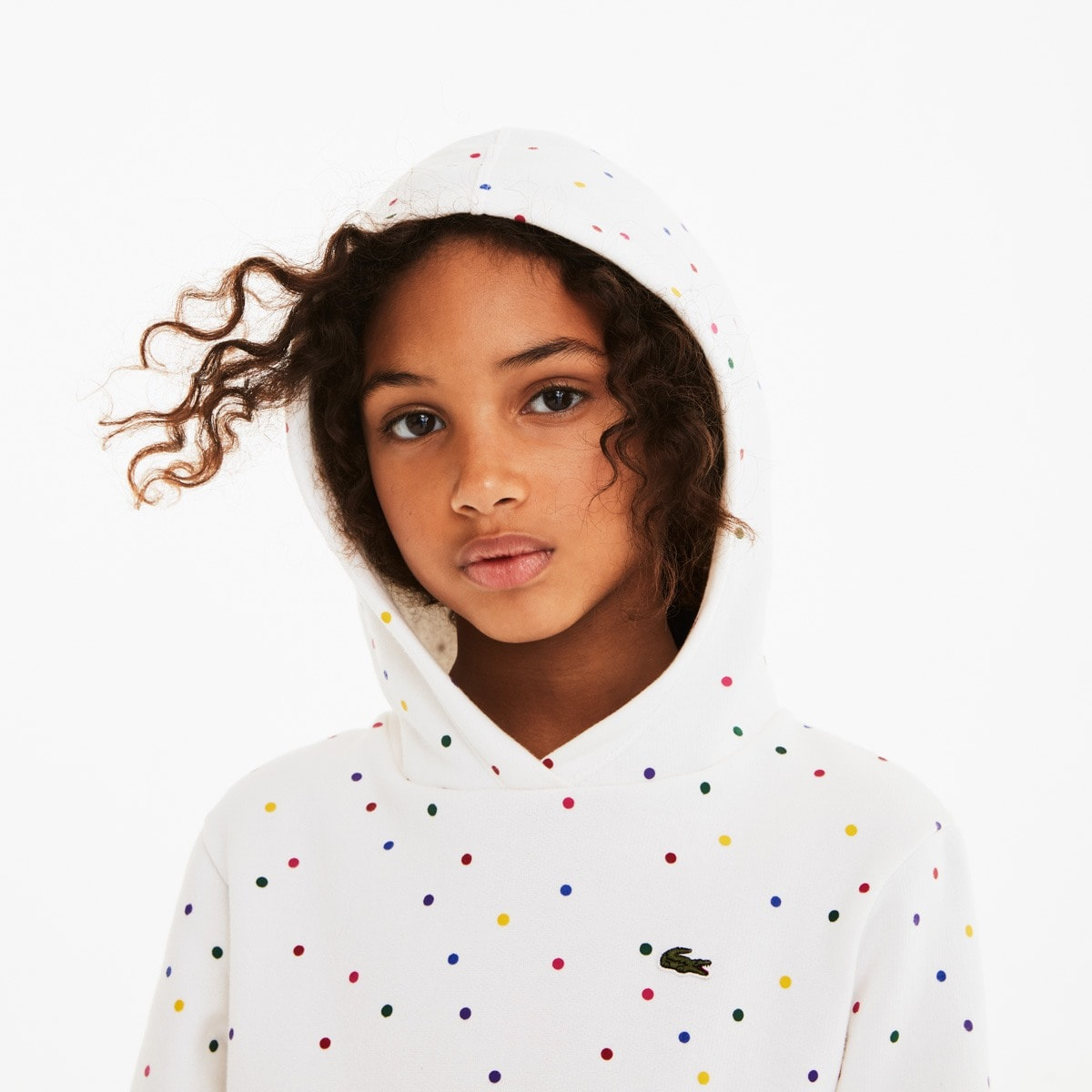 Girls' Colored Polka Dot Fleece Sweatshirt