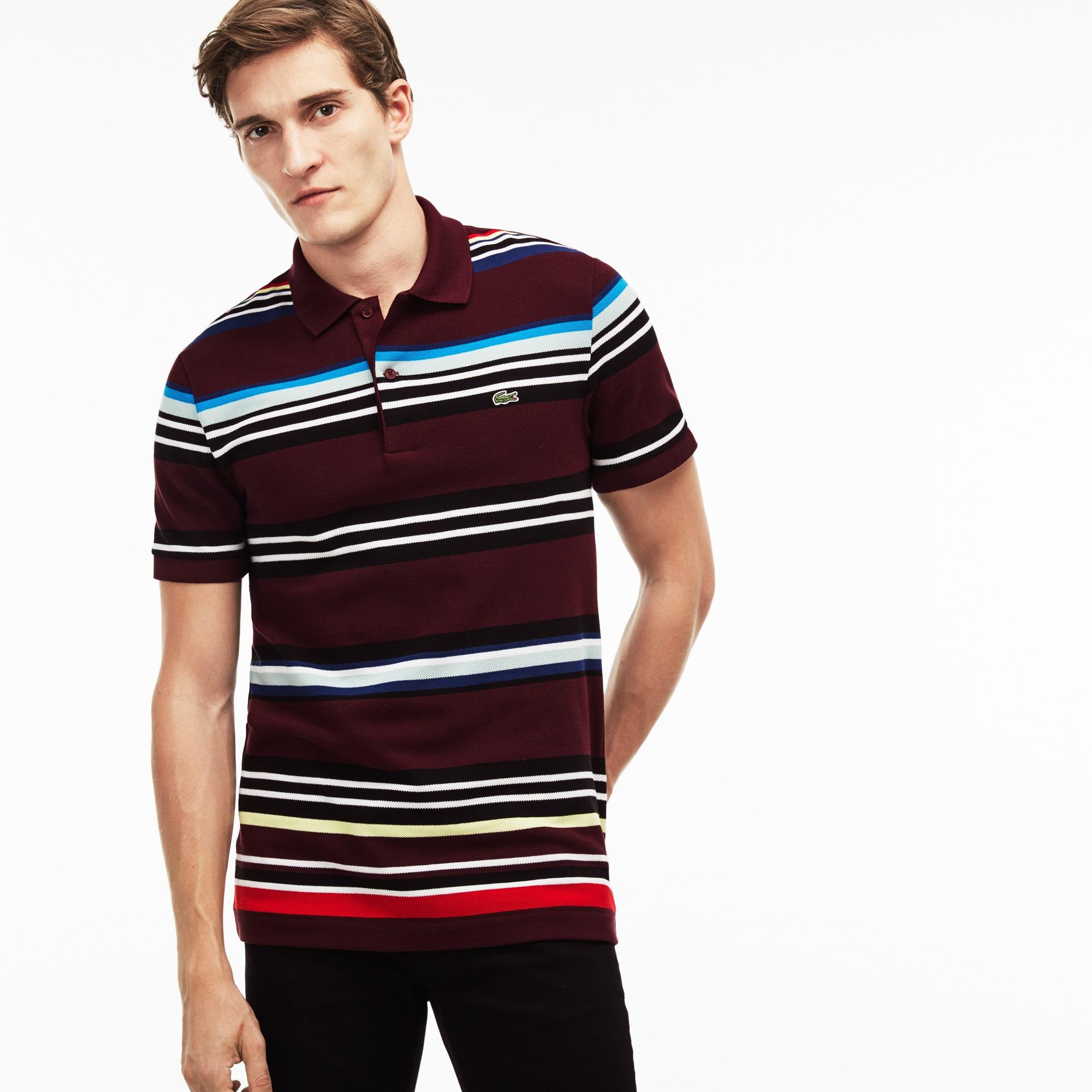 Men's  Regular Fit Flecked Colored Stripe Piqué Polo