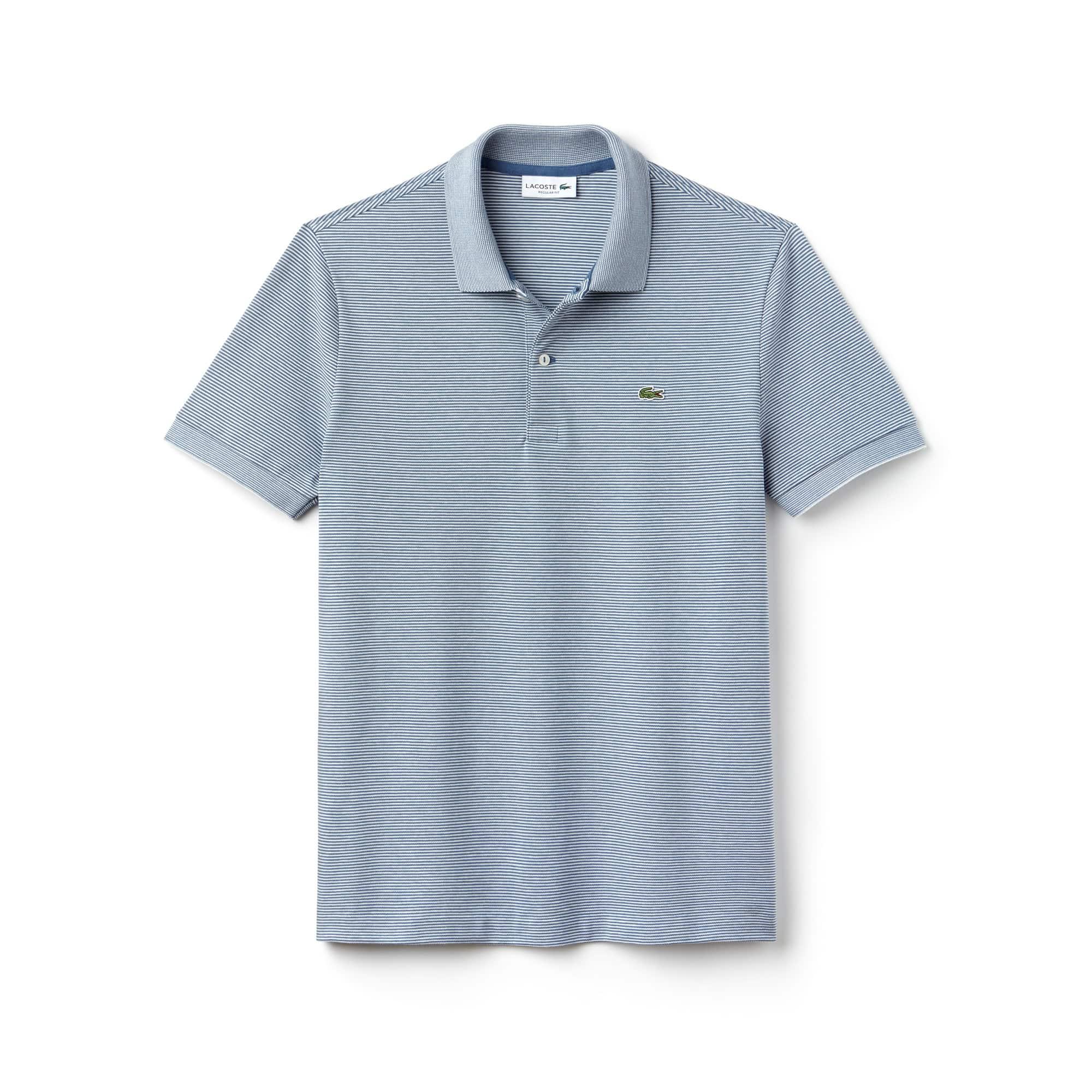 Men's Lacoste Regular Fit Striped Mini Piqué Polo