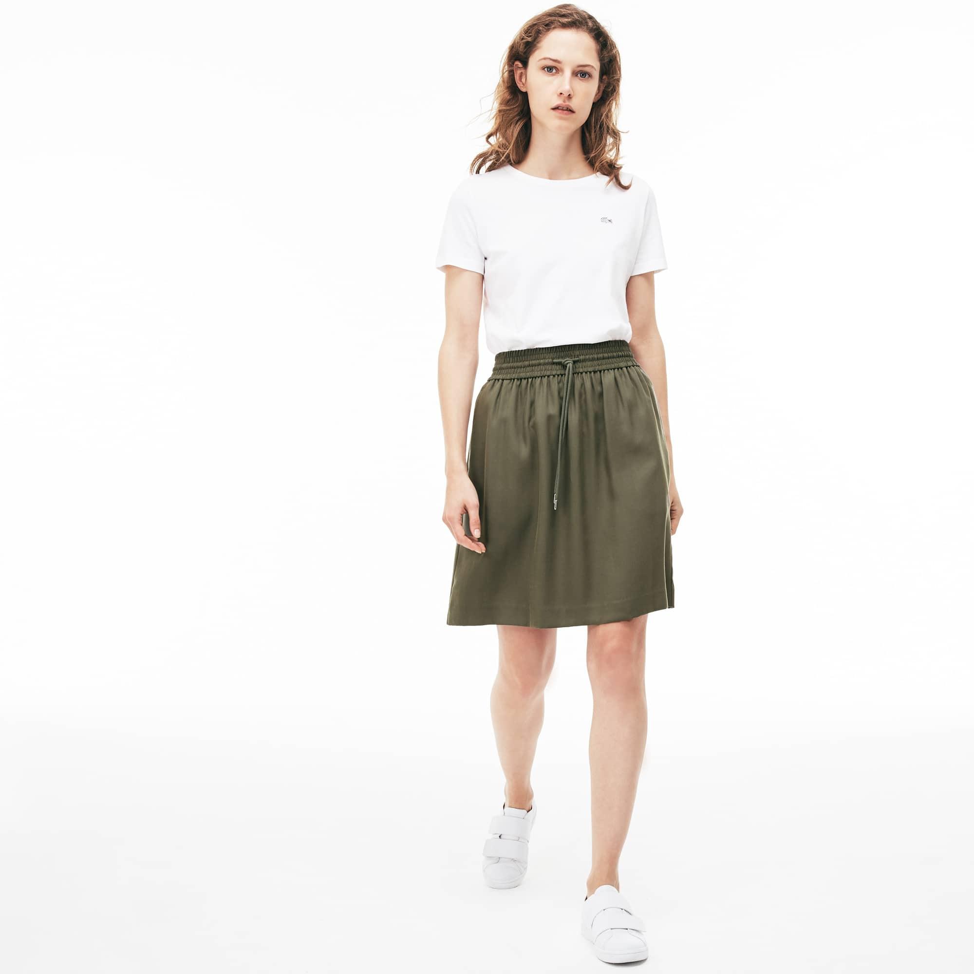 Women's Elasticized Waistband Piqué Mid-Length Skirt