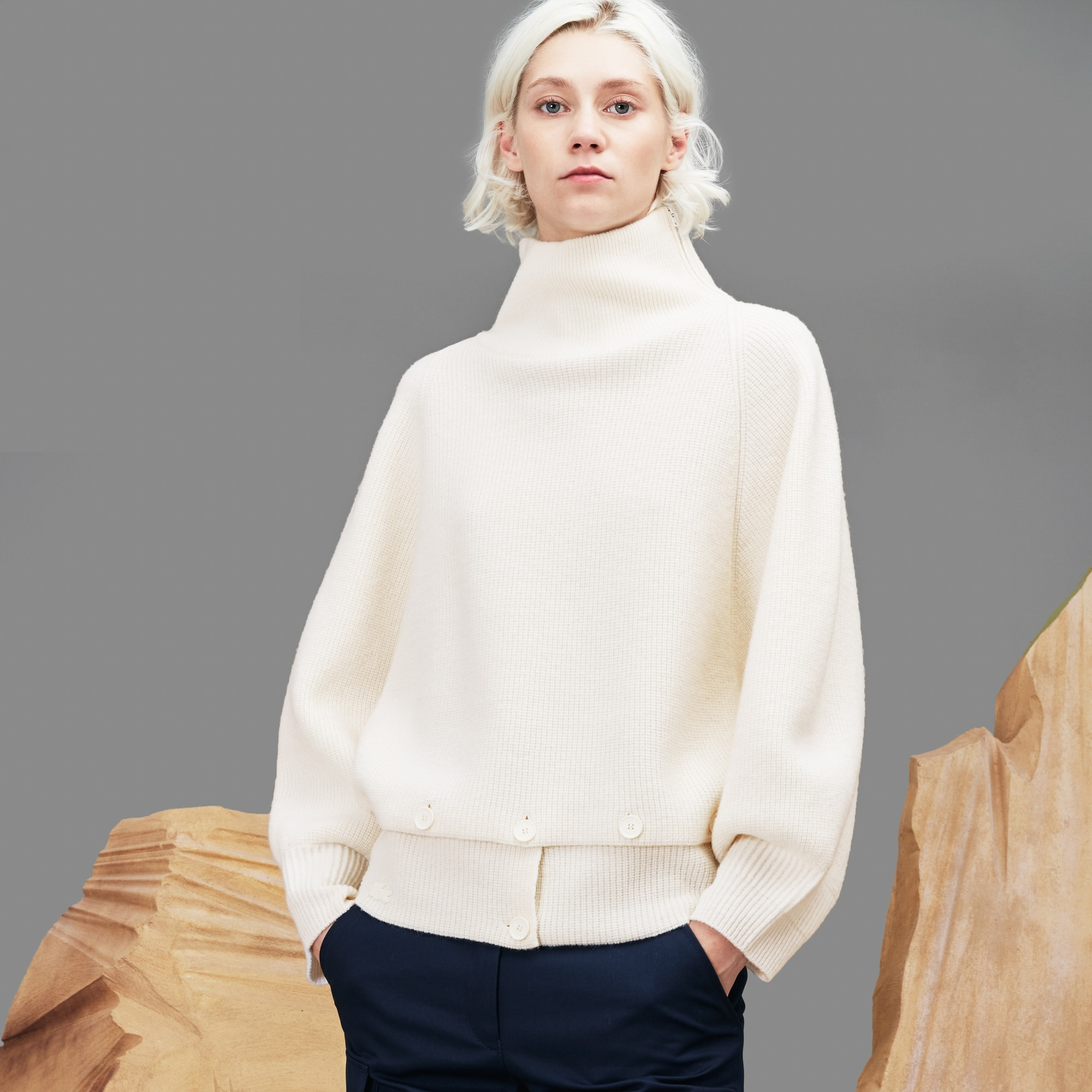 Women's Fashion Show Stand-Up Collar Ribbed Wool Sweater