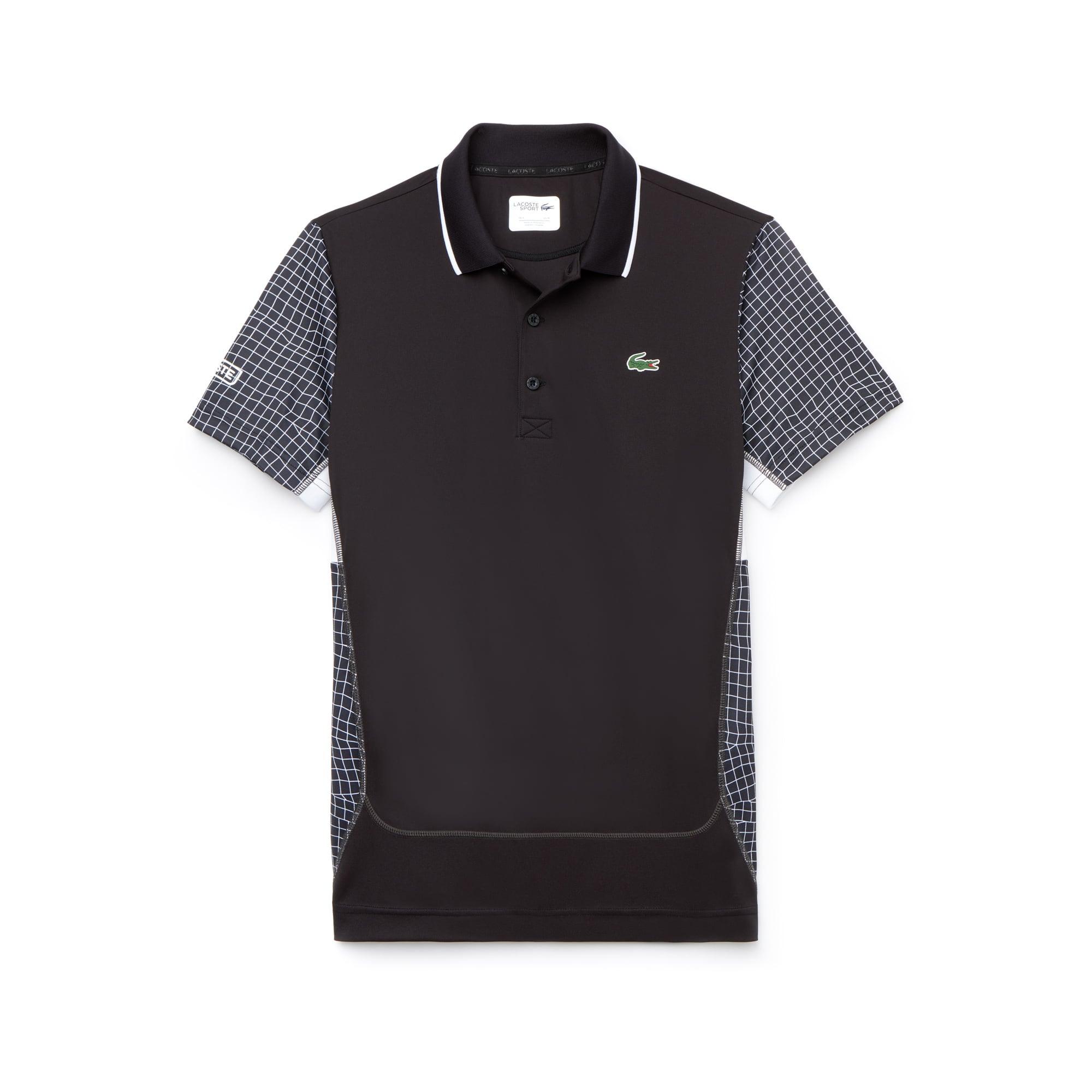 라코스테 Lacoste Mens SPORT Net Print Pique Tennis Polo,black / white / white / dark grey / white