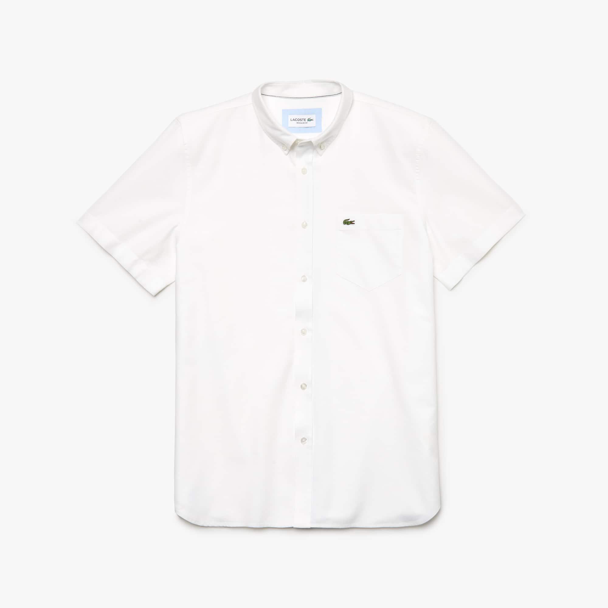 라코스테 옥스포드 반팔 셔츠 Lacoste Mens Regular Fit Oxford Cotton Shirt,white