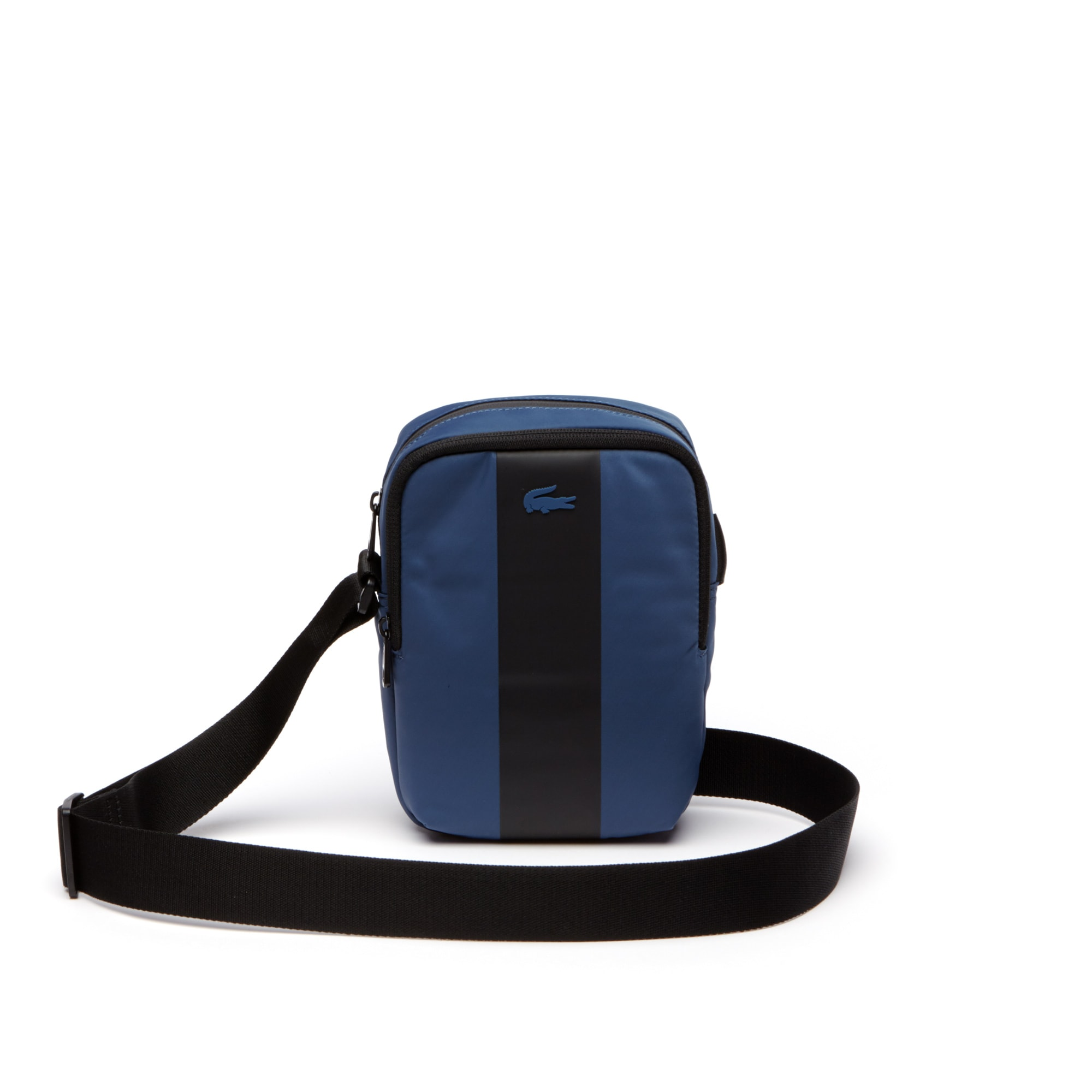 라코스테 메신저백 Lacoste Mens Urban Trek Contrast Band Nylon Vertical Bag,BLUE WING TEAL