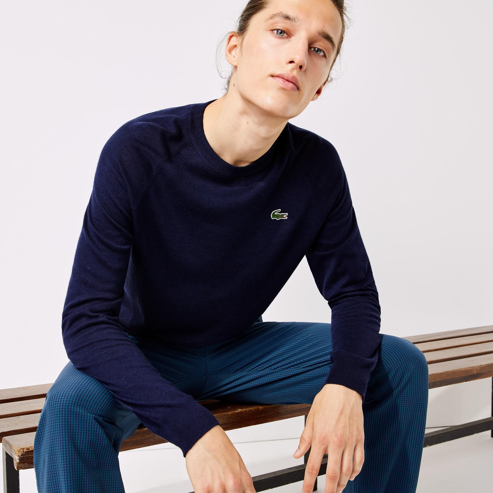 라코스테 Lacoste Mens SPORT Breathable-Knit Golf Sweater,Navy Blue - 166