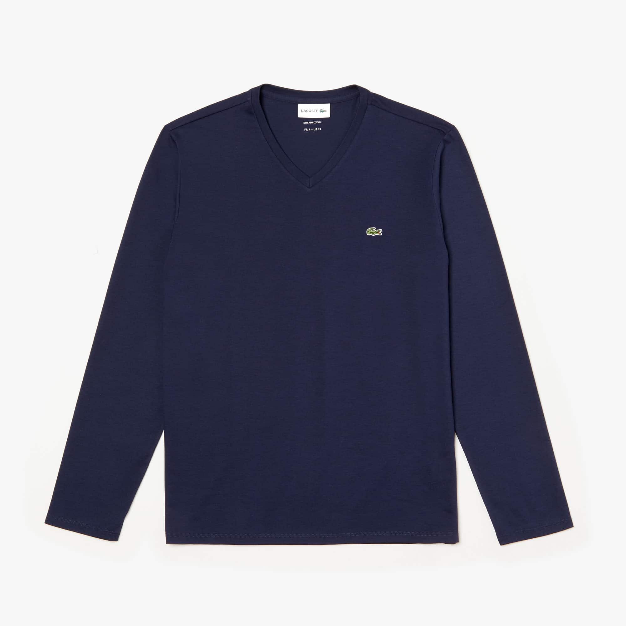 라코스테 V넥 긴팔 티셔츠 Lacoste Mens V-neck Pima Cotton Jersey T-shirt,navy blue