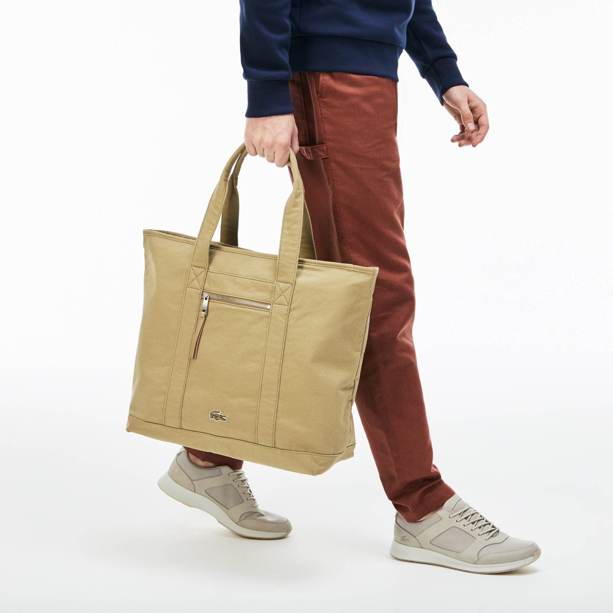 Men's Summer Faded Cotton Large Zip Tote Bag