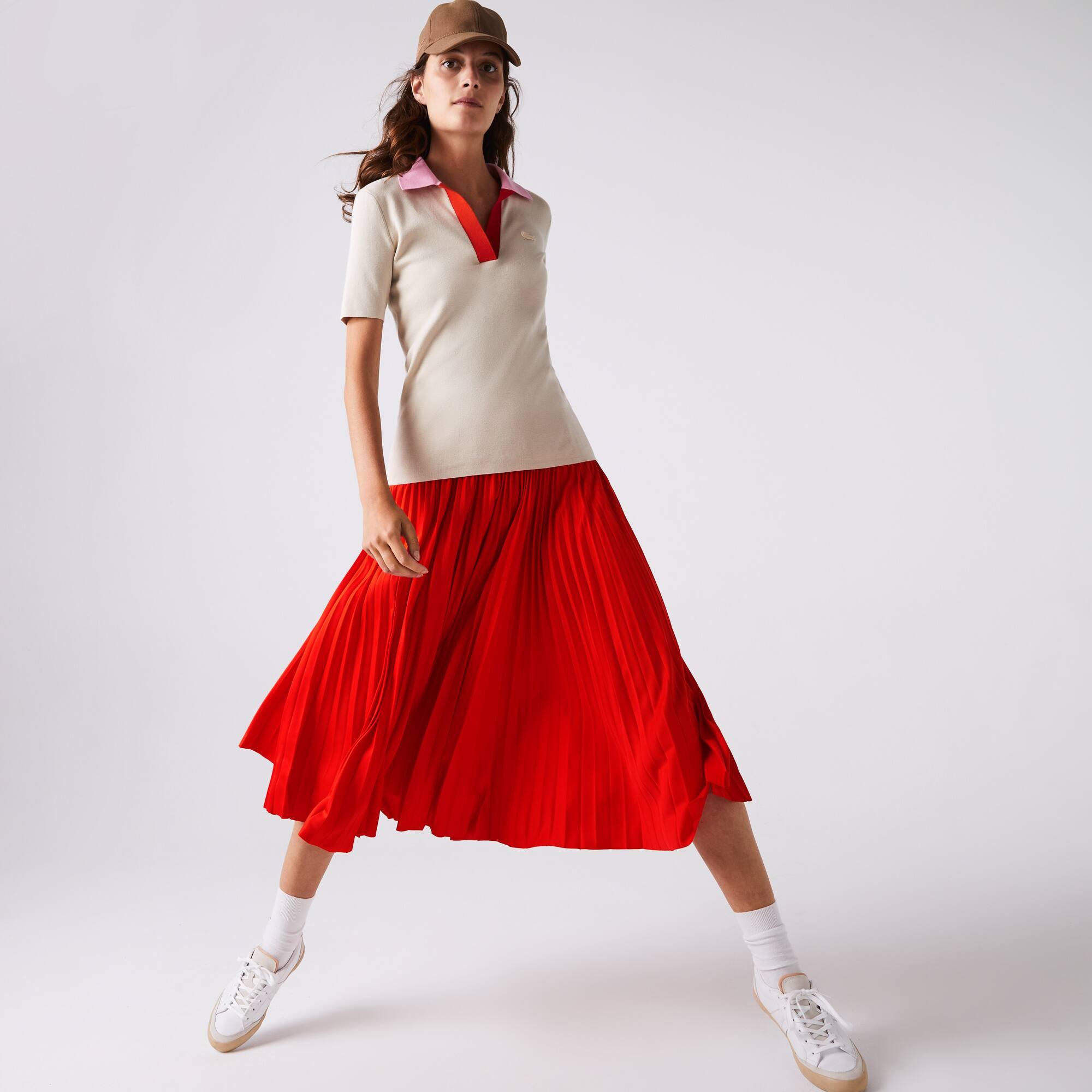 Lacoste Womens Branded Elasticised Pleated Skirt