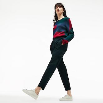 라코스테 조거팬츠 Lacoste Womens City Jog Regular Fit Striped Stretch Urban Jogging Pants,Green