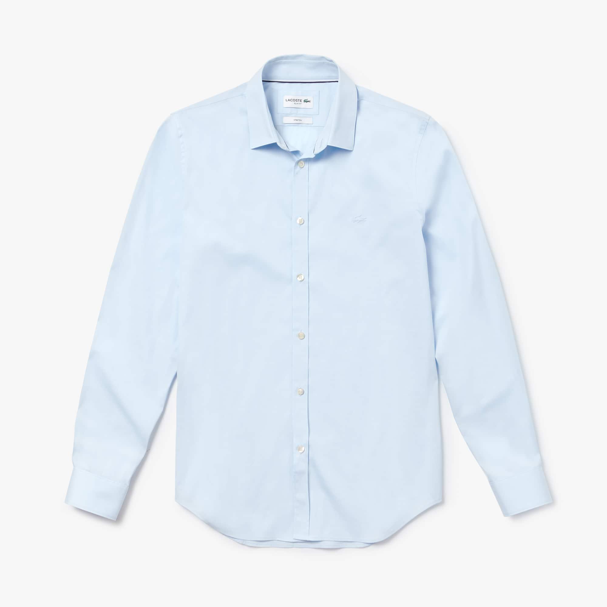 라코스테 Lacoste Mens Slim Fit Stretch Cotton Poplin Shirt,rill