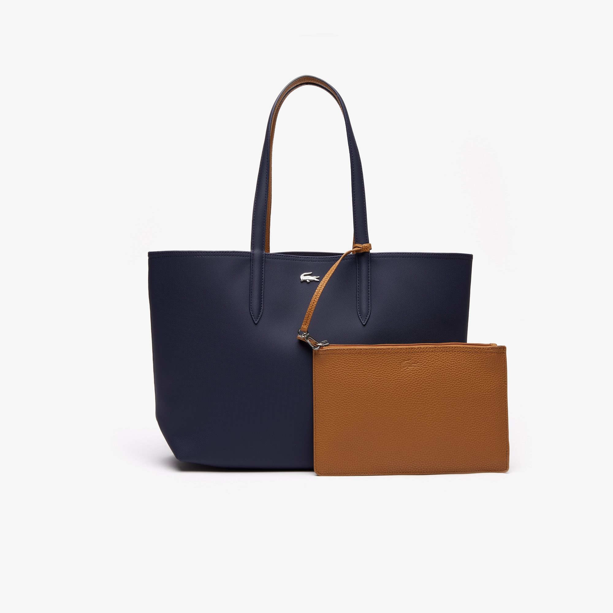 라코스테 Lacoste Womens Anna Reversible Bicolor Tote Bag,peacoat cashew