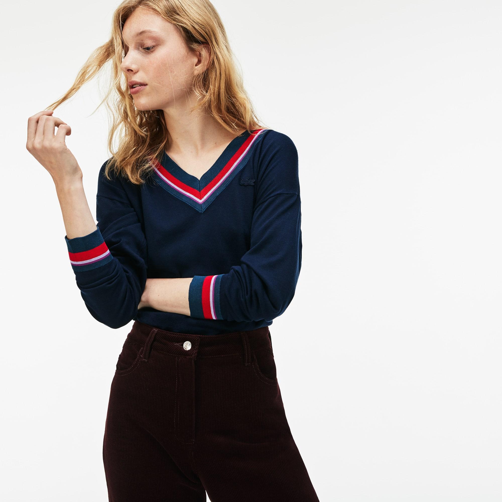 Women's V-neck Contrast Accent Silk Cotton Jersey Sweater