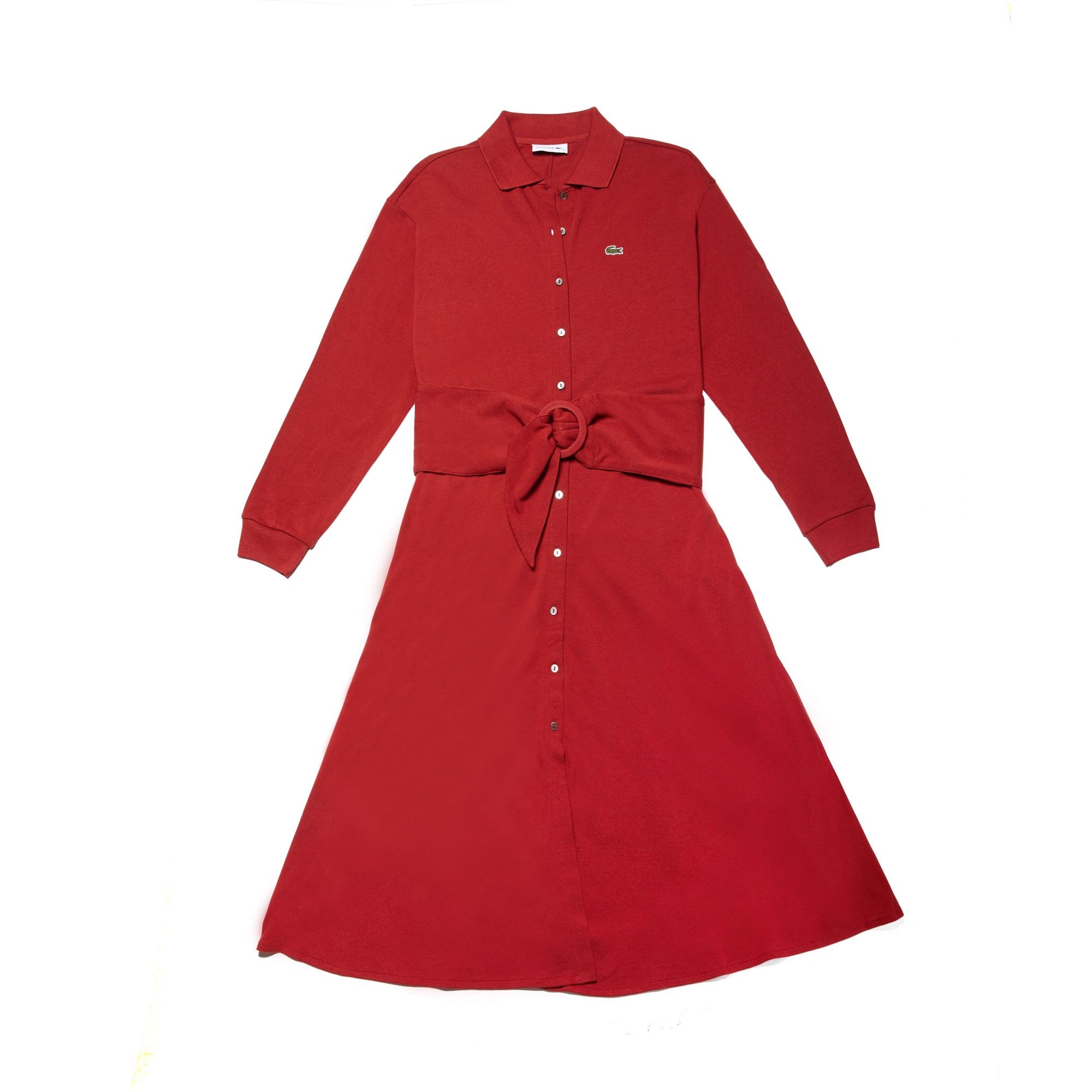 라코스테 Lacoste Womens Belted Cotton Petit Pique Shirt Dress,passion