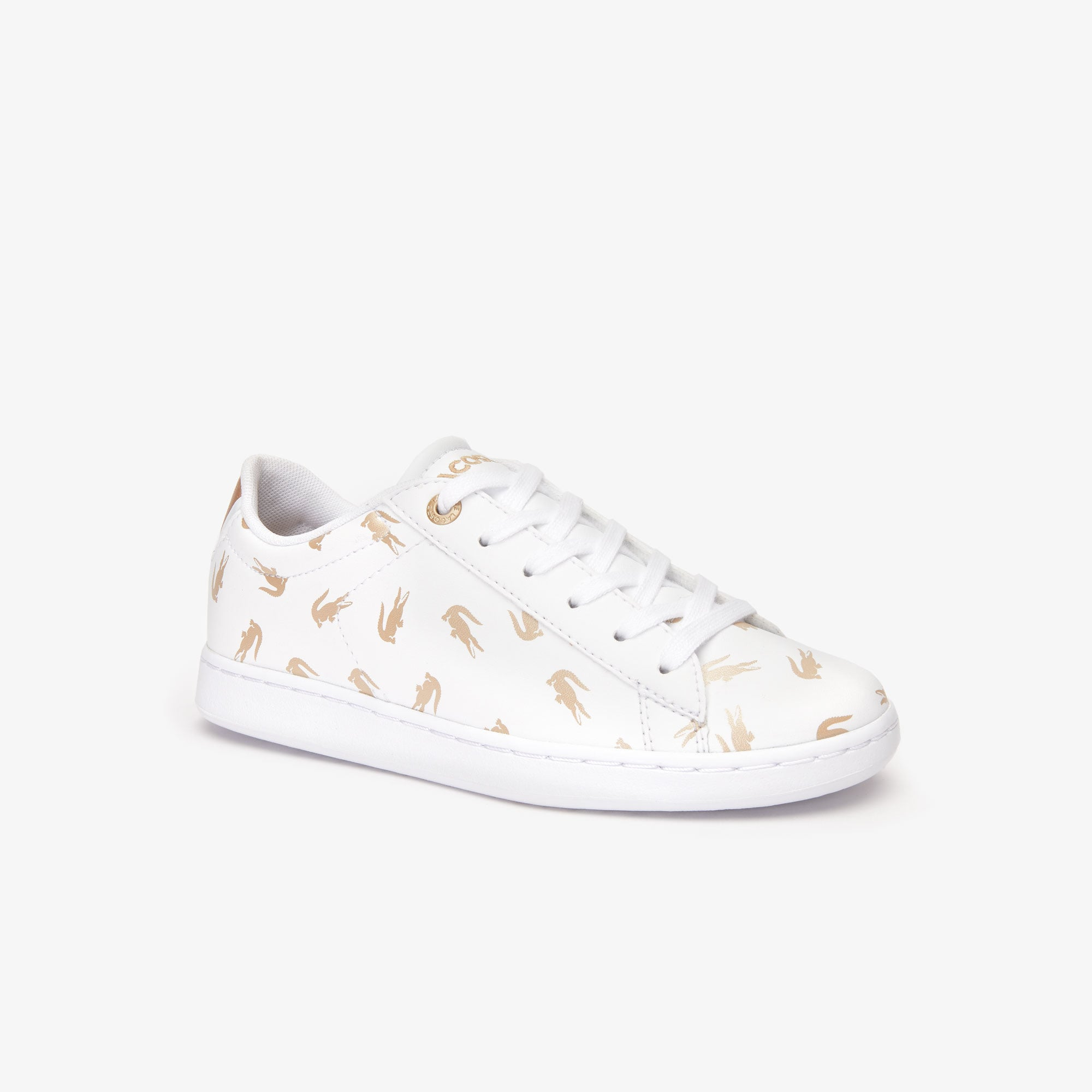 라코스테 칠드런 스니커즈 Lacoste Childrens Carnaby Metallic Crocodile Sneaker