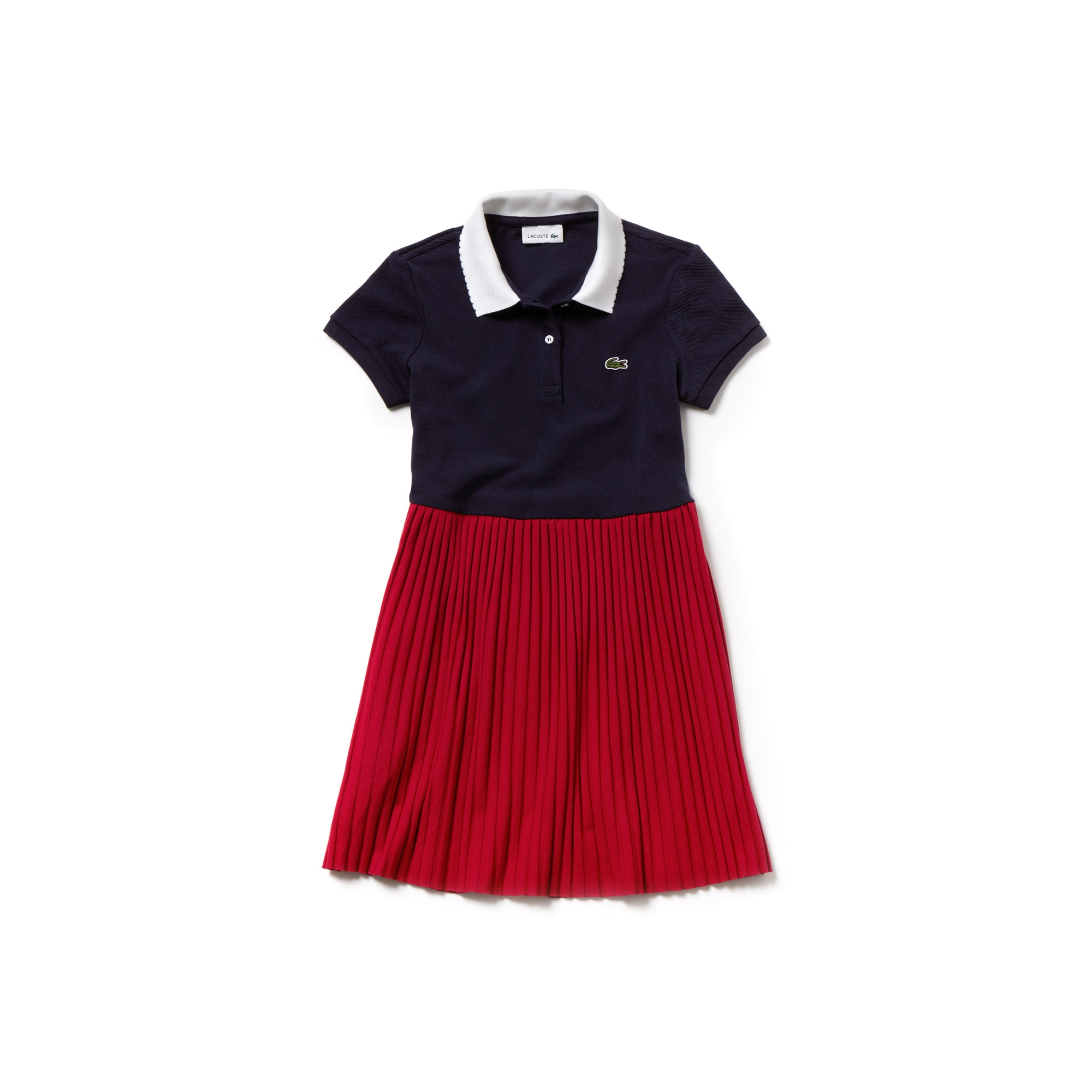 Girls' Flared Bicolour Ribbed Polo Dress
