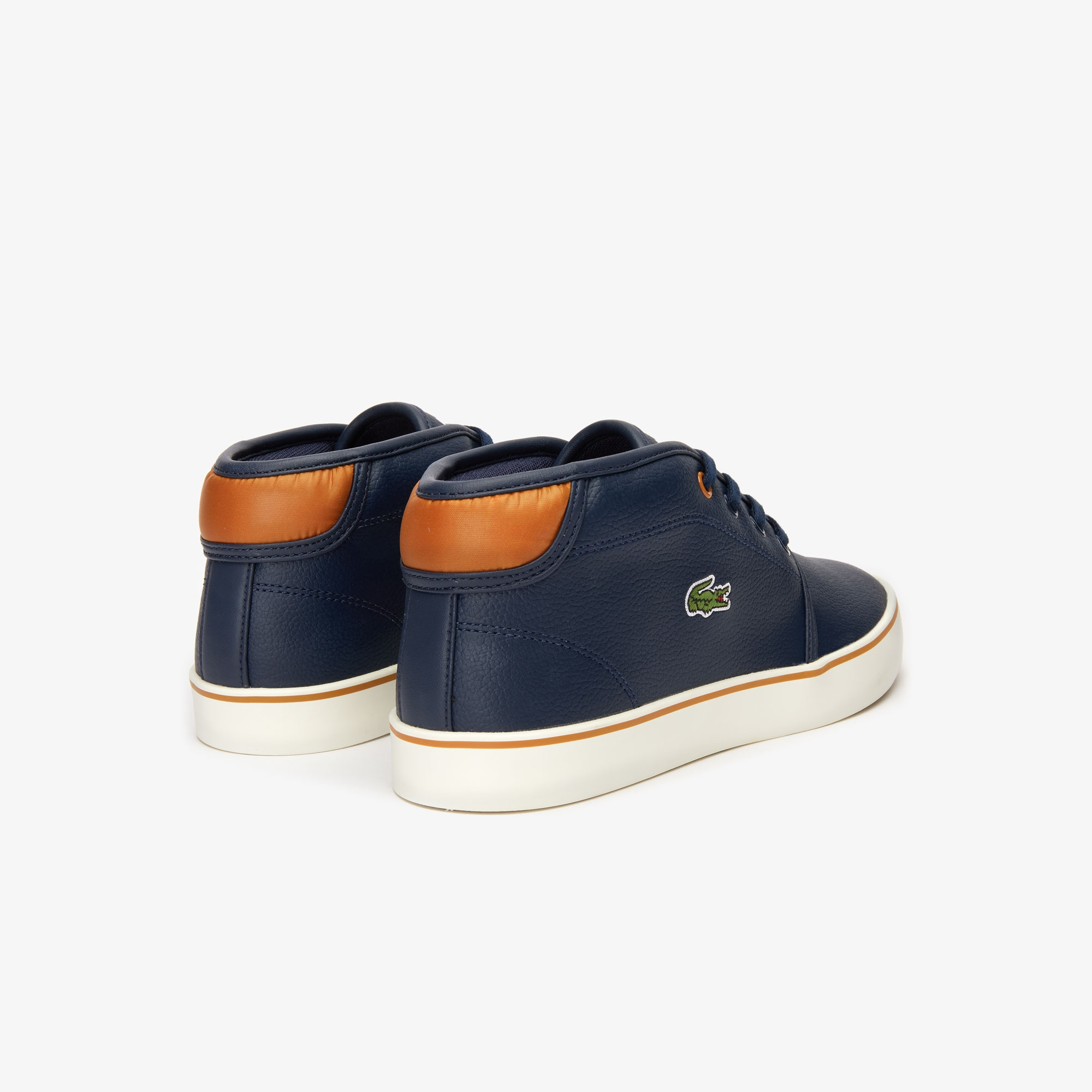 Lacoste Juniors Ampthill Trainers Hightop Boots White Navy Boys