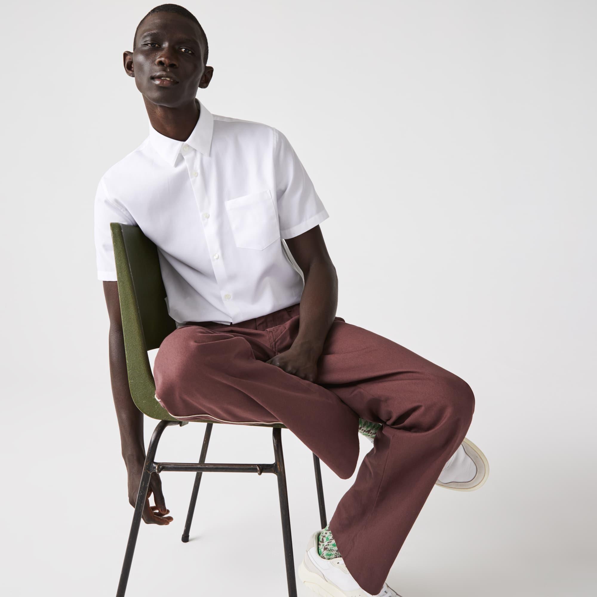 라코스테 Lacoste Mens Regular Fit Textured Cotton Poplin Shirt