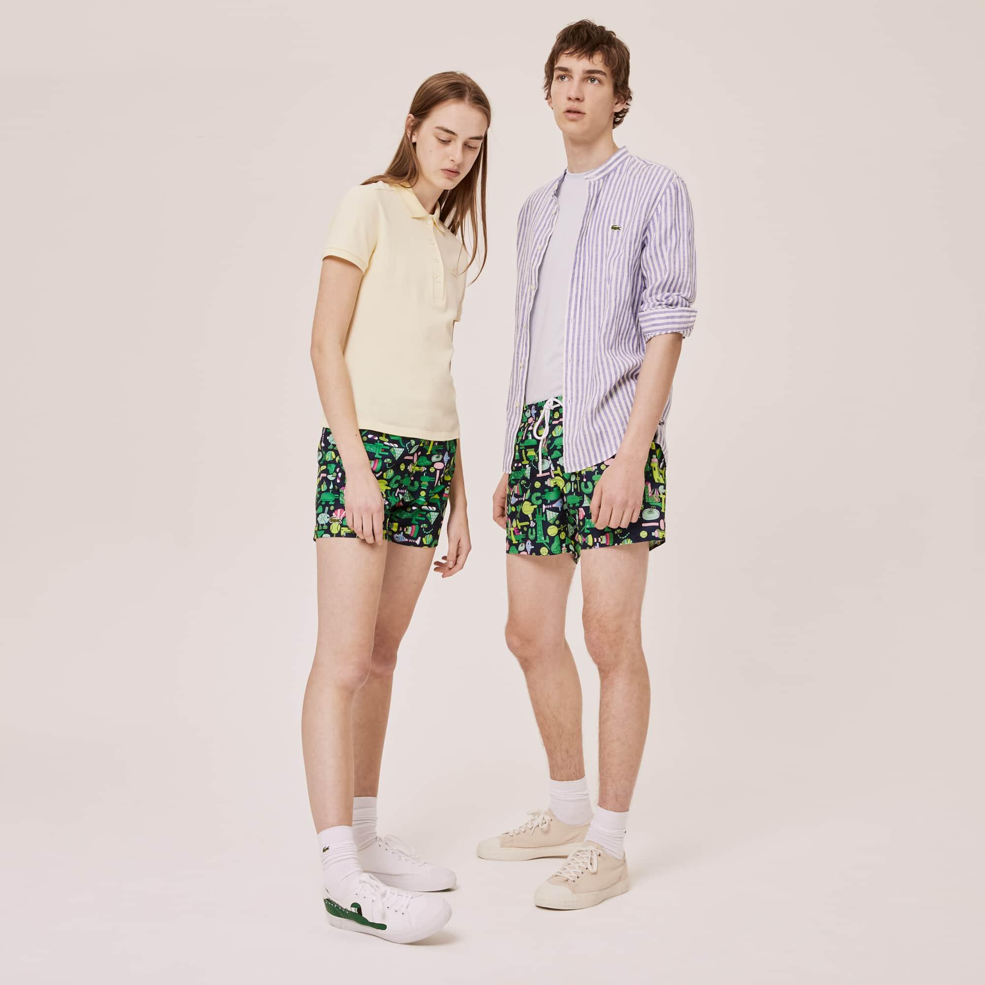 라코스테 x 제레미빌 콜라보 수영복 하의 (남여 공용 보드숏) Lacoste x Jeremyville Light Print Swim Shorts,Navy Blue / White - QRN