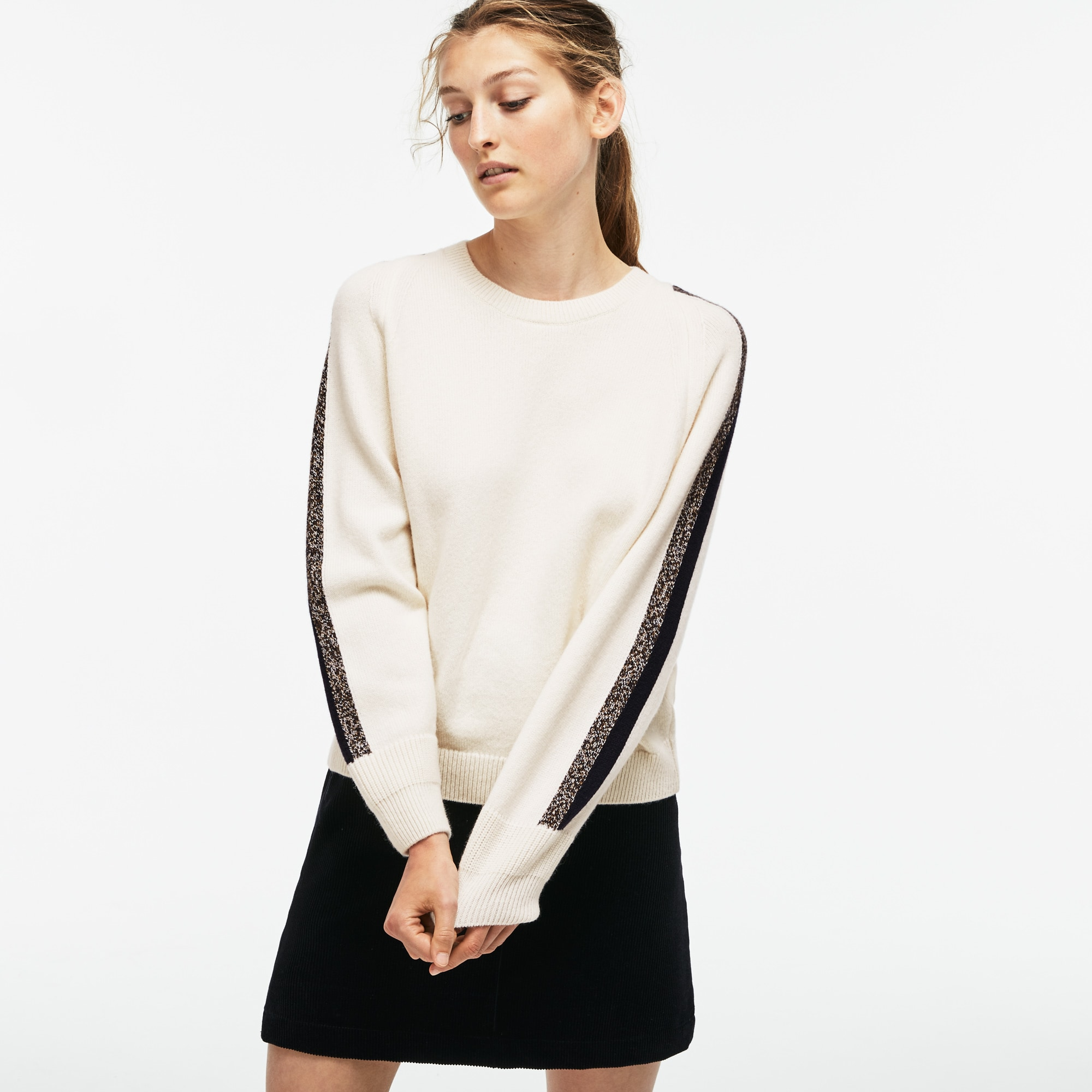 Women's Made In France Contrast Band Wool Sweater