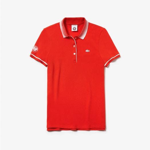 라코스테 우먼 스포츠 테니스 롤랑가로스 에디션 폴로 셔츠 - 레드 Lacoste Womens SPORT Roland-Garros Edition Polo,Red / White - JG6