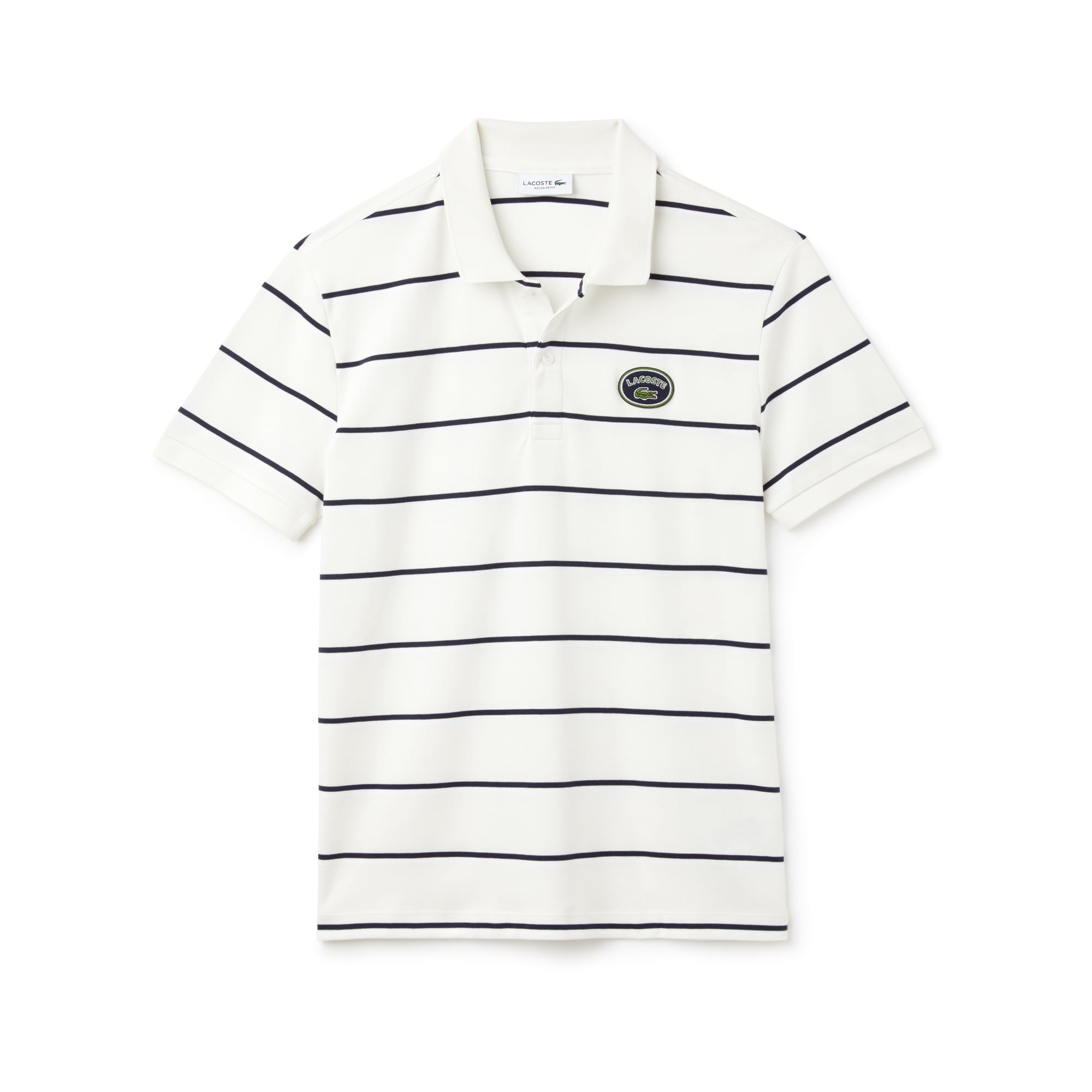 라코스테 Lacoste Mens Regular Fit Striped Cotton Interlock Polo,flour/white-navy blue