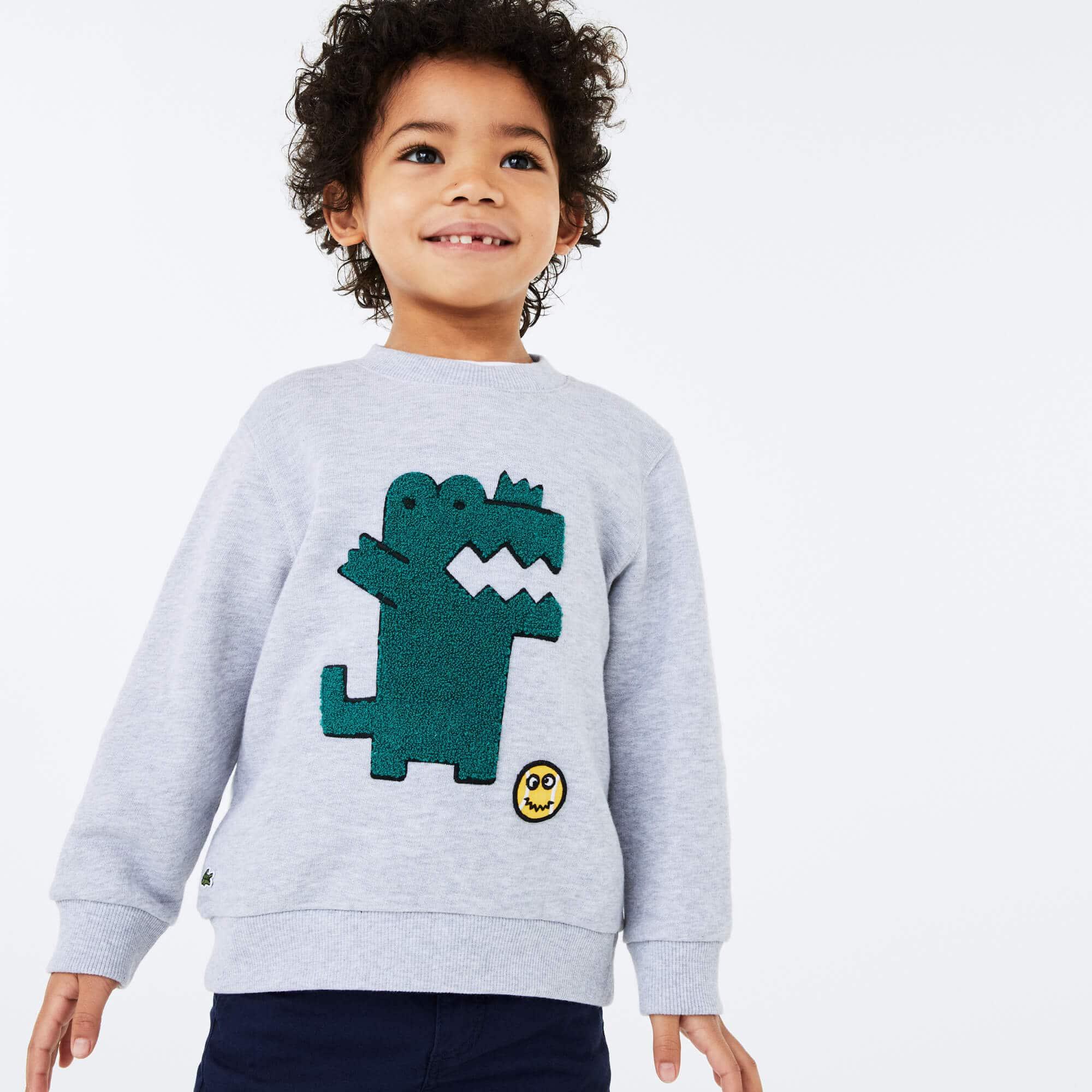 라코스테 Lacoste Boys' Embroidered Crocodile Cotton Fleece Sweatshirt,Grey Chine / White • W9D