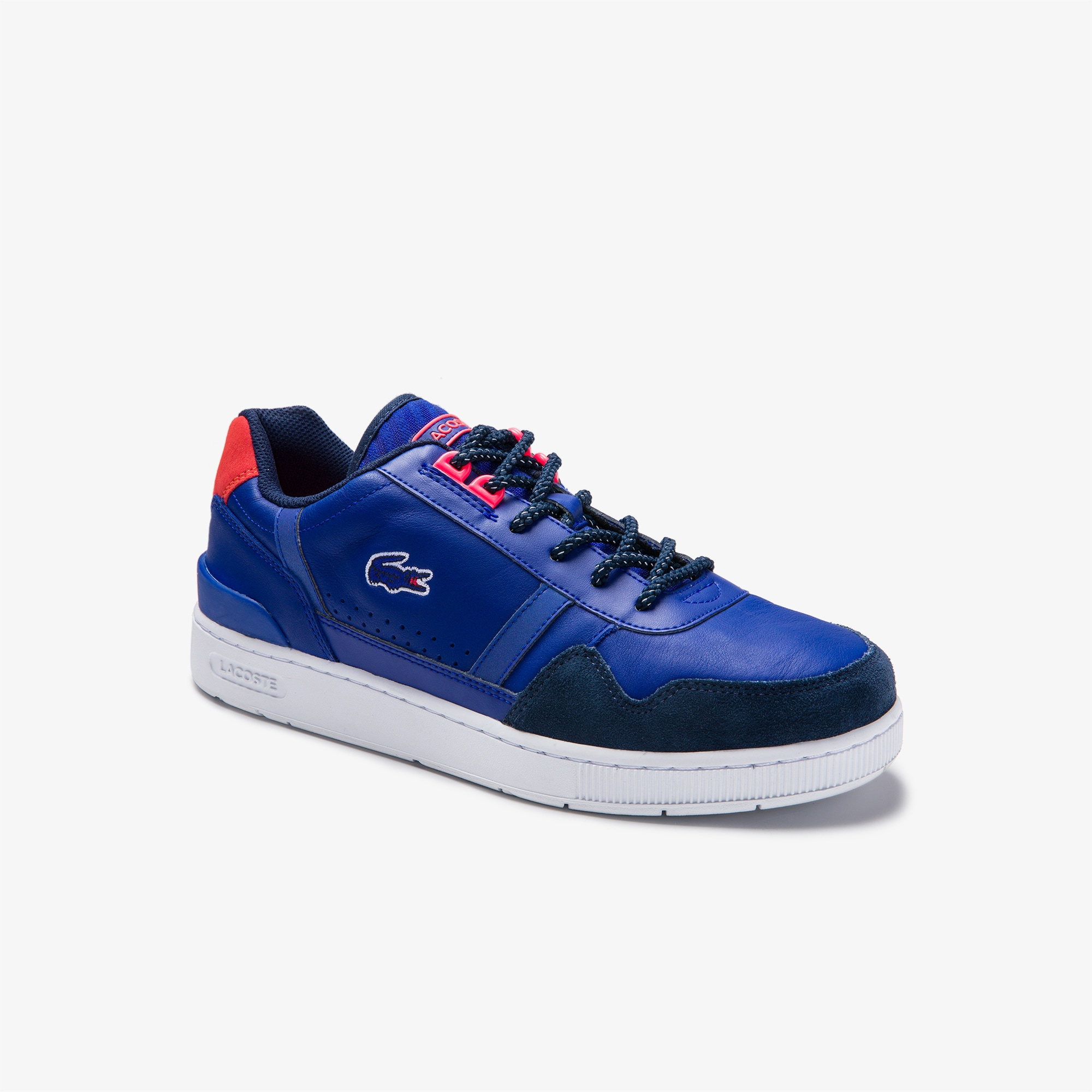 Lacoste Mens T-Clip Colourblock Leather and Suede Trainers