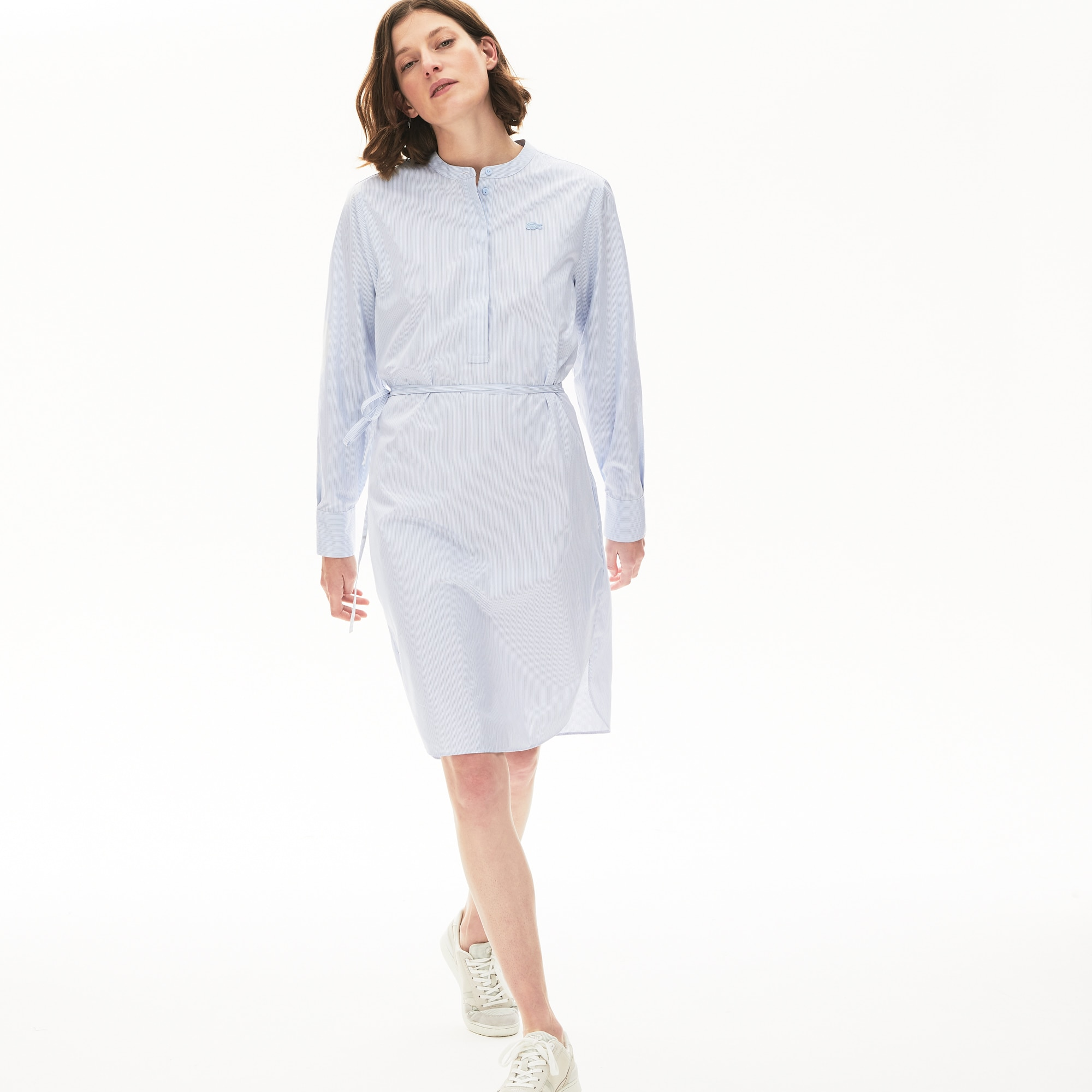 라코스테 코튼 셔츠 원피스 Lacoste Womens Cotton Shirt Dress, Light Blue / White / Navy Blue