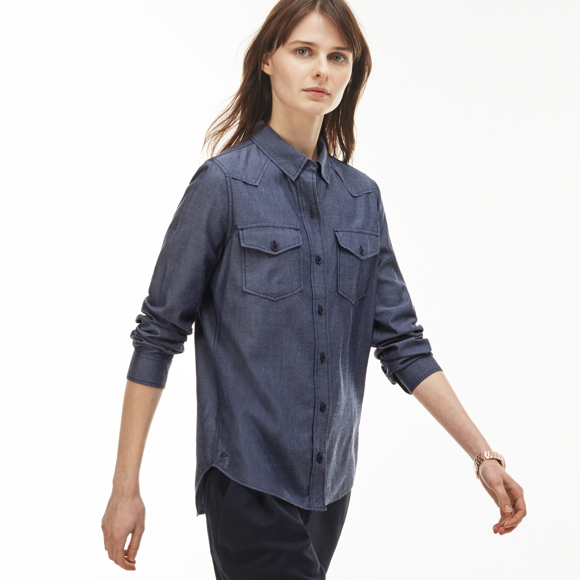 Women's Slim Fit Denim Effect Cotton Chambray Shirt