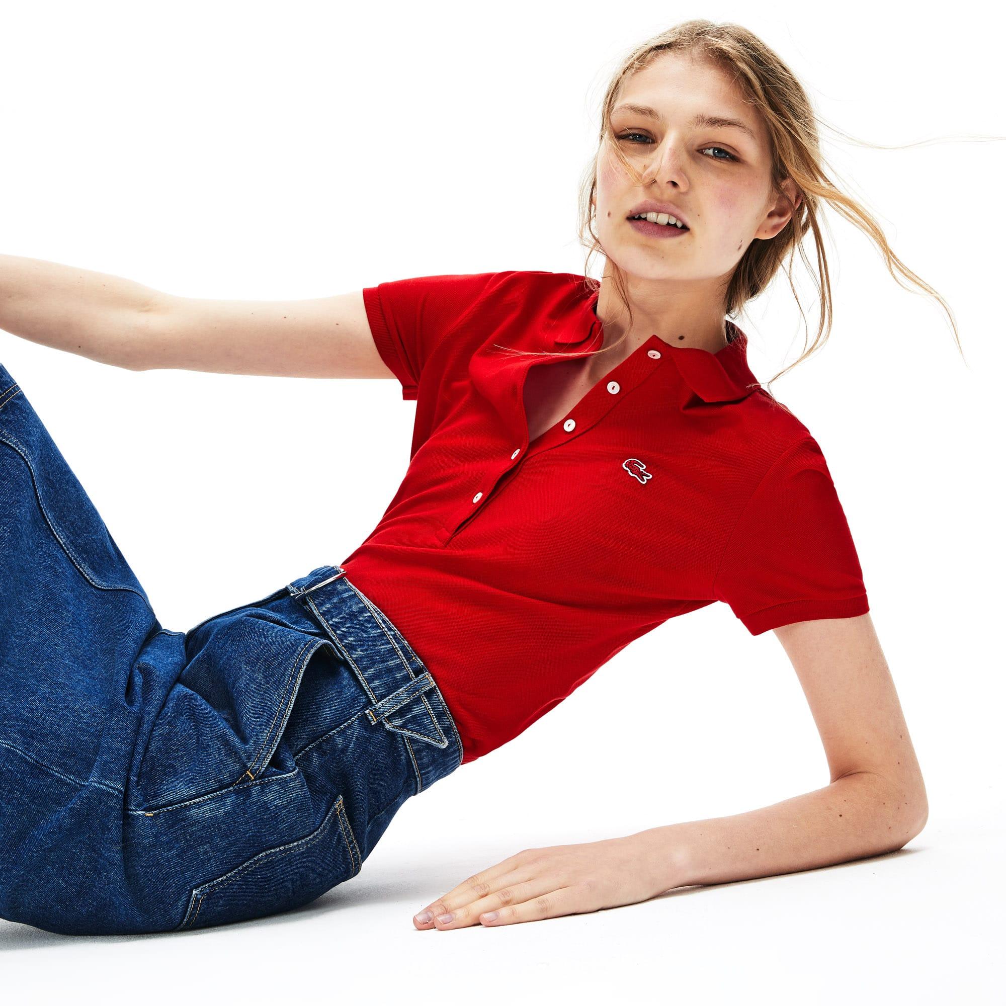 Womens Lacoste Slim Fit Stretch Mini Cotton Pique Polo Shirt