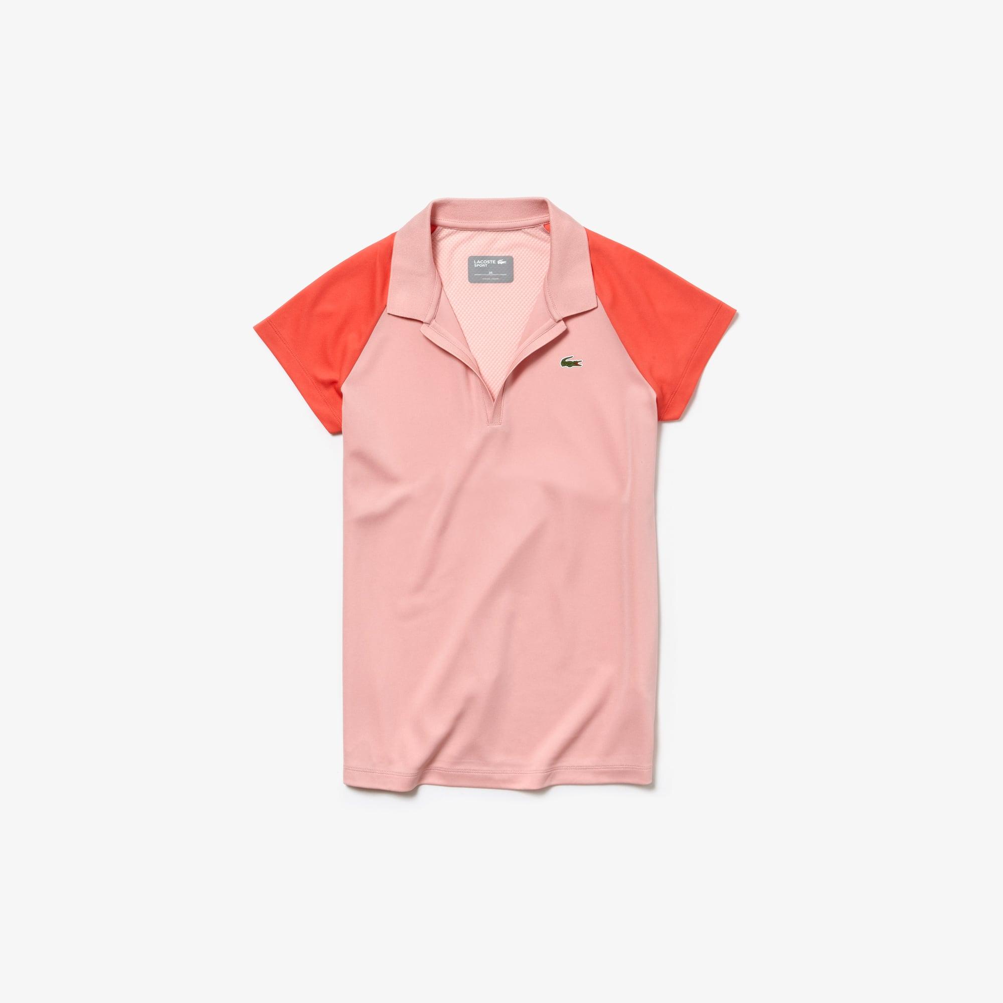라코스테 Lacoste Womens SPORT Tech Pique Tennis Polo,pink / red