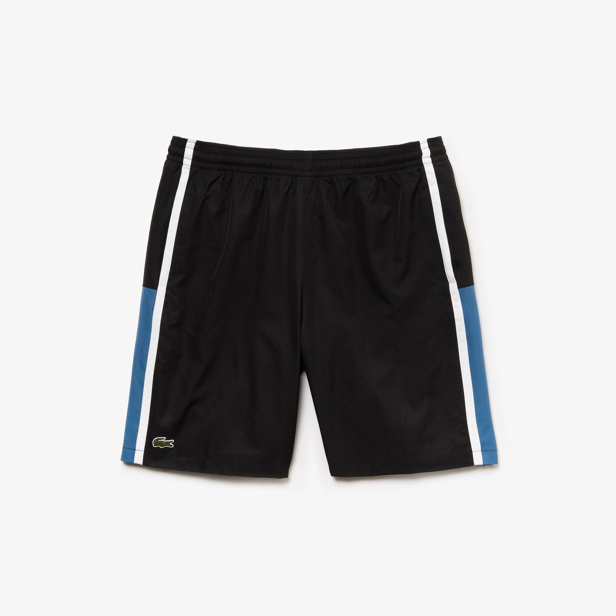 라코스테 Lacoste Mens SPORT Taffeta Tennis Shorts,black / blue / white