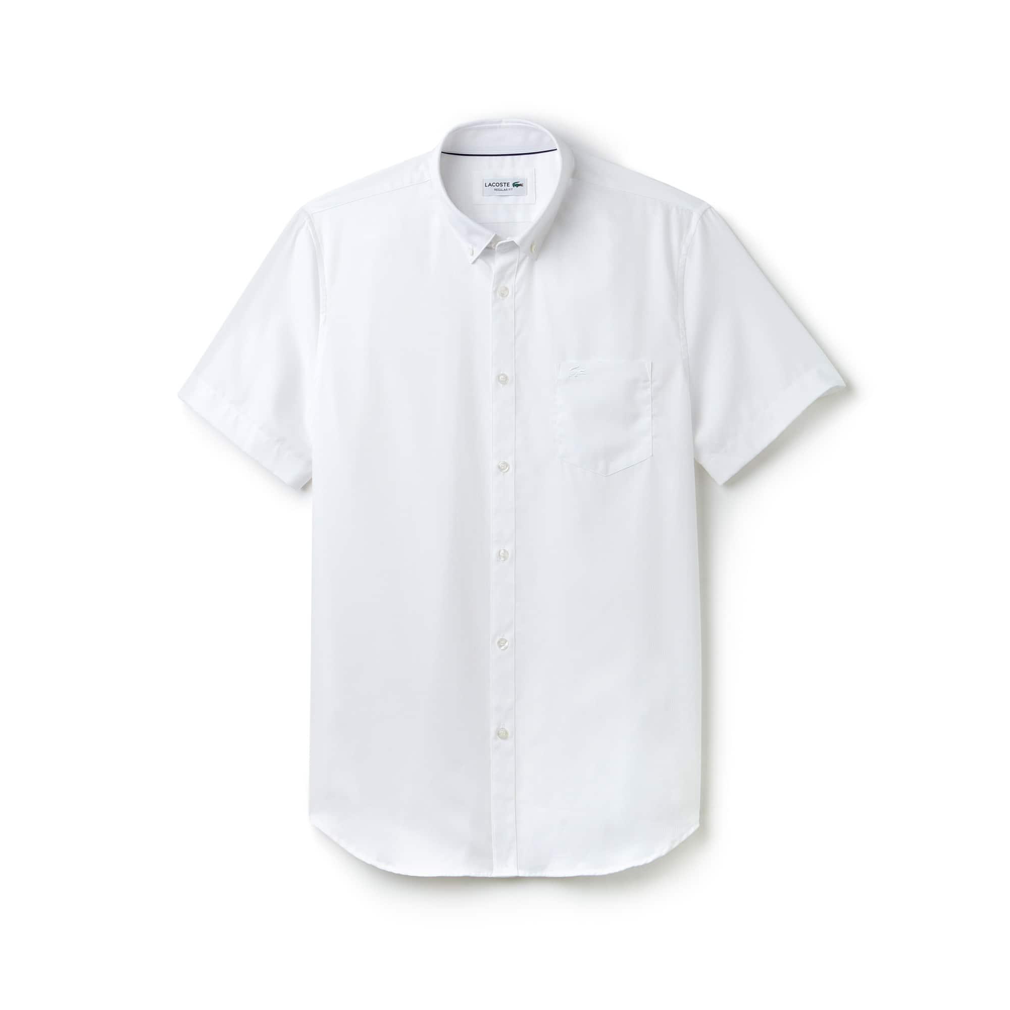 라코스테 반팔 셔츠 Lacoste Mens Regular Fit Texturized Poplin Shirt,white/white