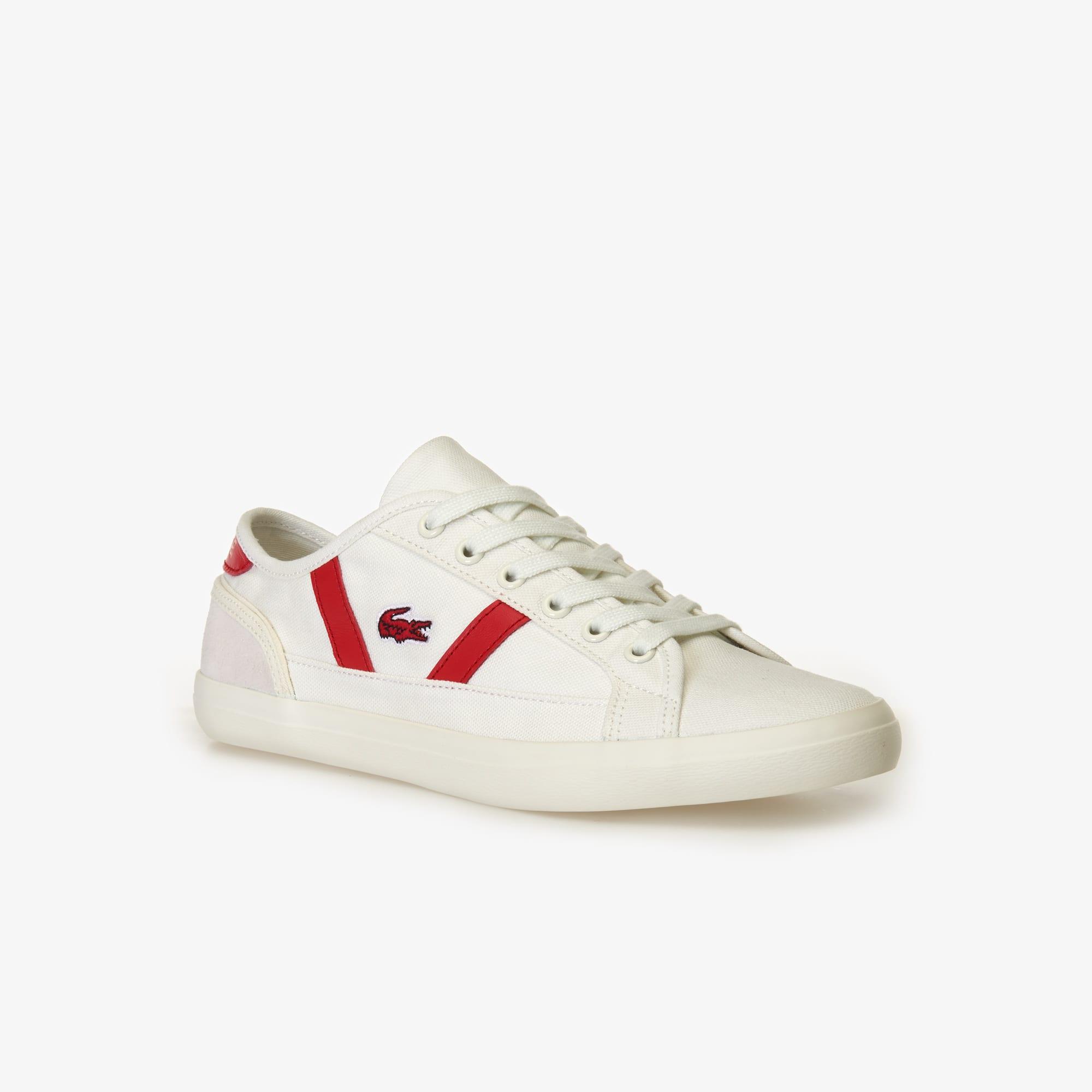라코스테 우먼 사이드라인 스니커즈 - 화이트/레드 Lacoste Womens Sideline Canvas and Leather Trainers,off white/red