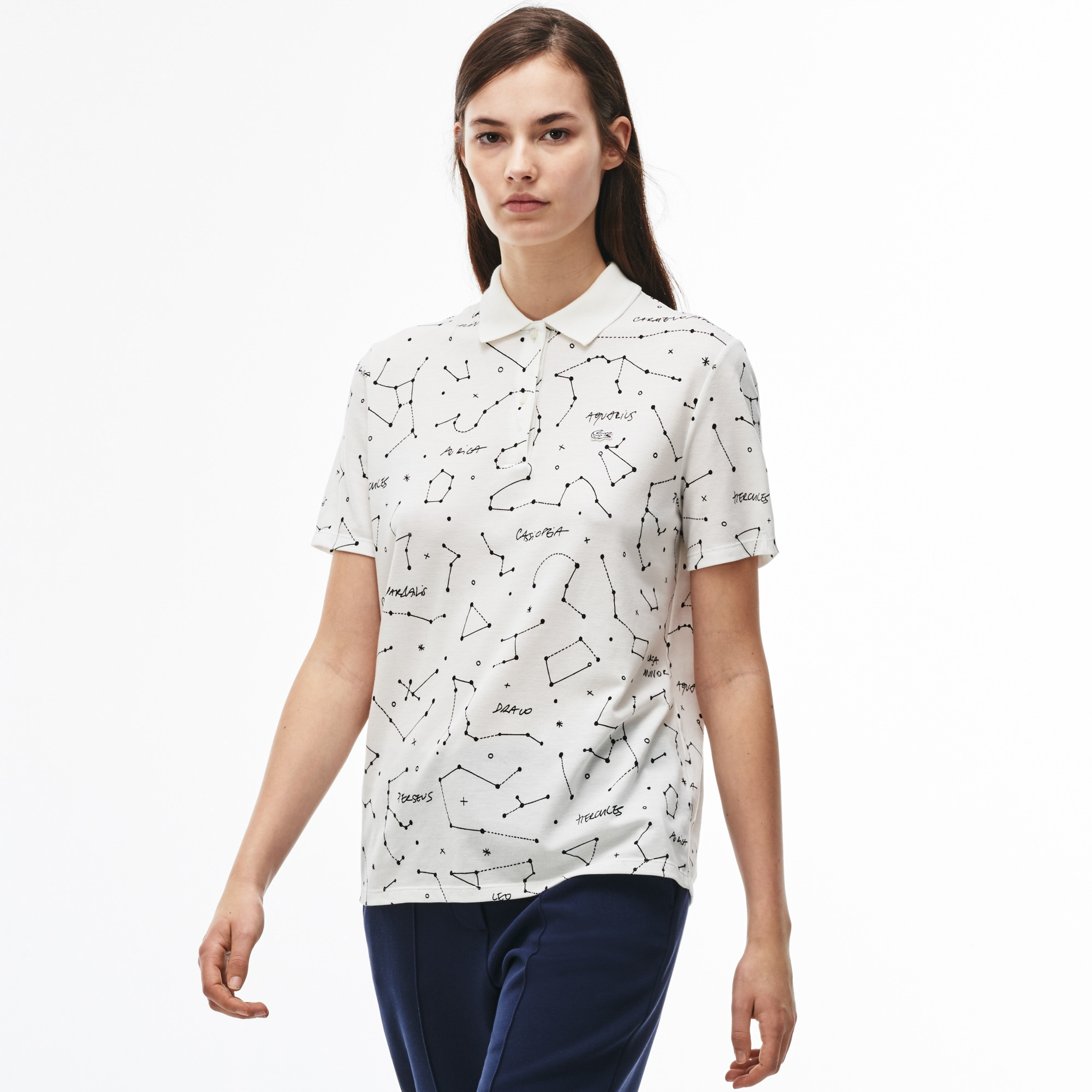 Women's Lacoste LIVE Constellation Print Mini Piqué Polo