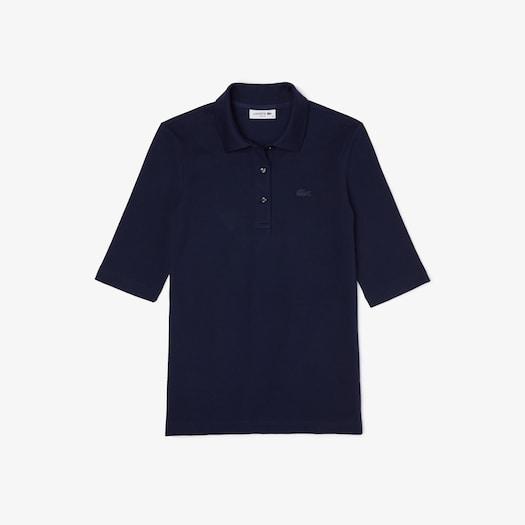 라코스테 우먼 5부 폴로 셔츠 (클래식 핏) Lacoste Womens Classic-Fit Cotton Polo,Navy Blue - 166
