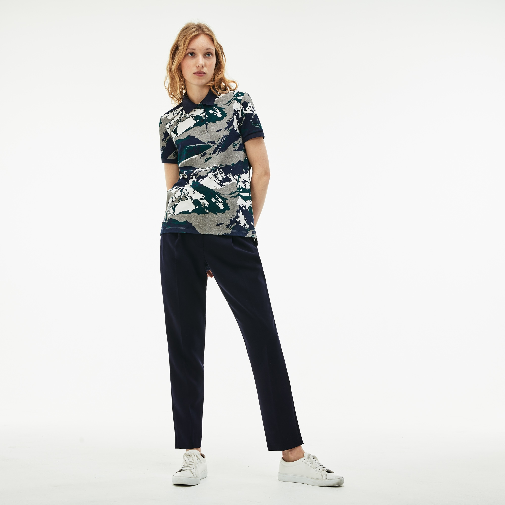 Women's Classic Fit Alpine Print Cotton Mini Piqué Polo
