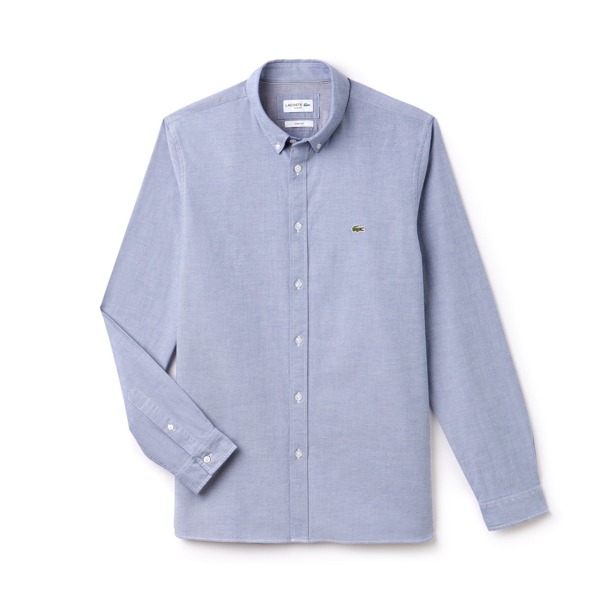 라코스테 Lacoste Mens Slim Fit Stretch Oxford Cotton Shirt,blue