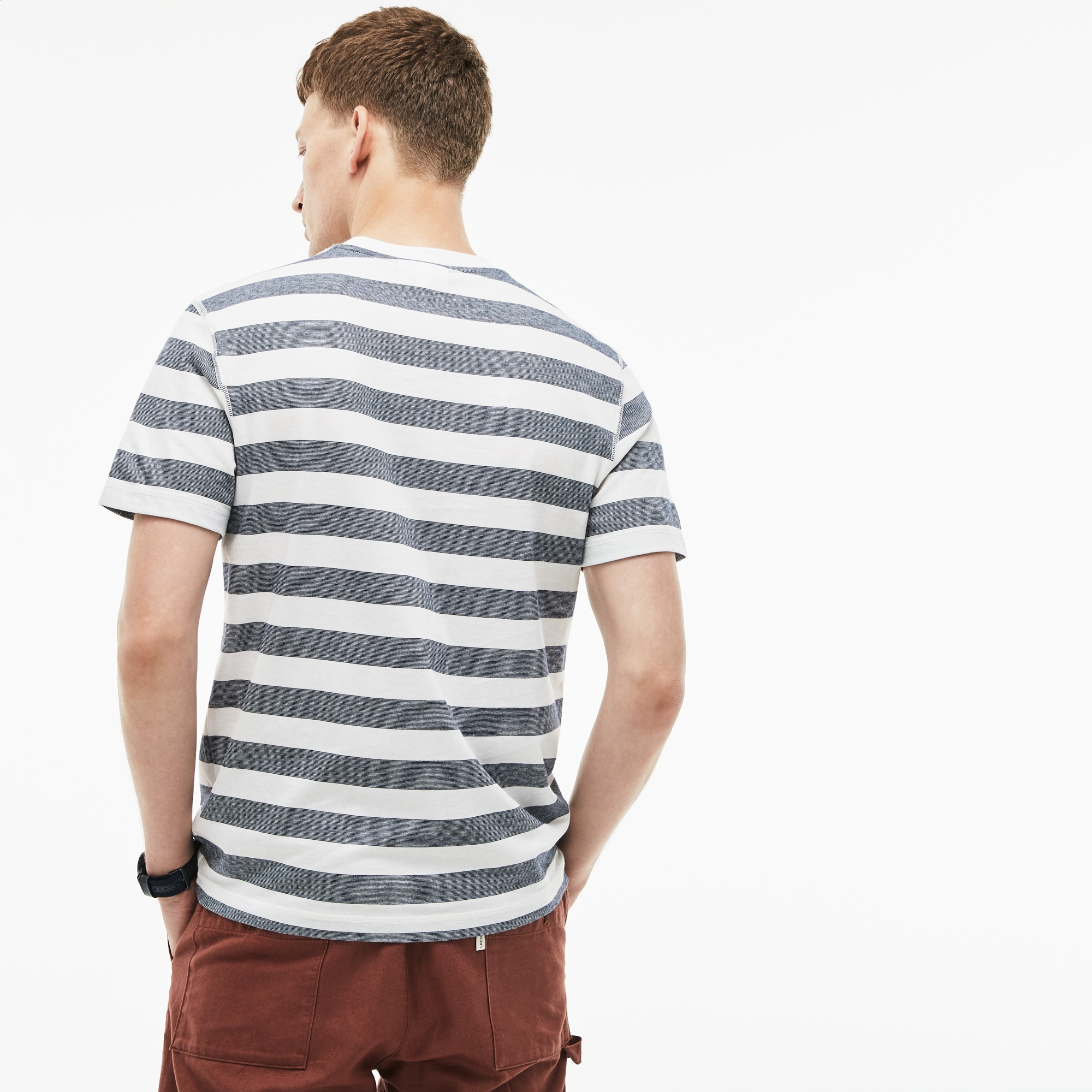 Men's Crew Neck Striped Cotton T-Shirt