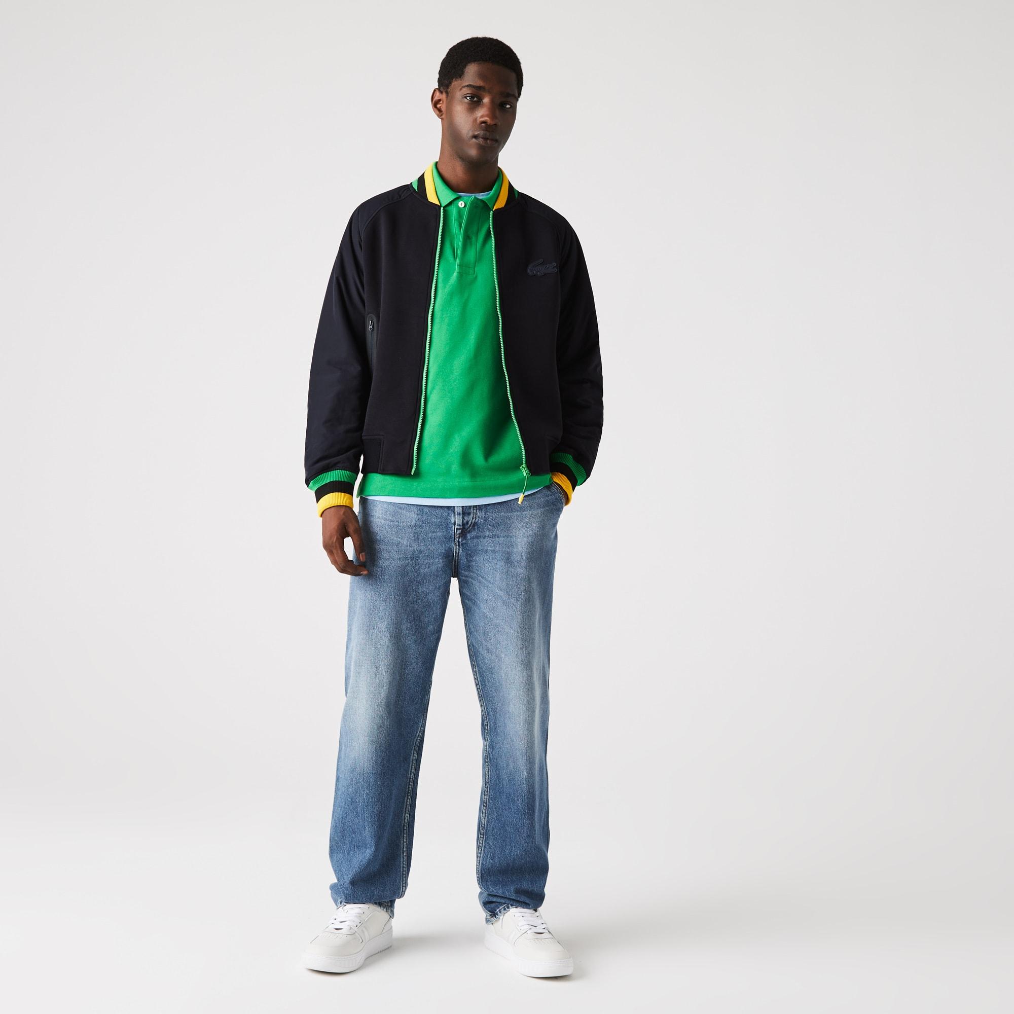 라코스테 Lacoste Men's Quilted Sleeve Bimaterial Teddy Jacket,Yellow / Black / Green / Navy Blue 01U