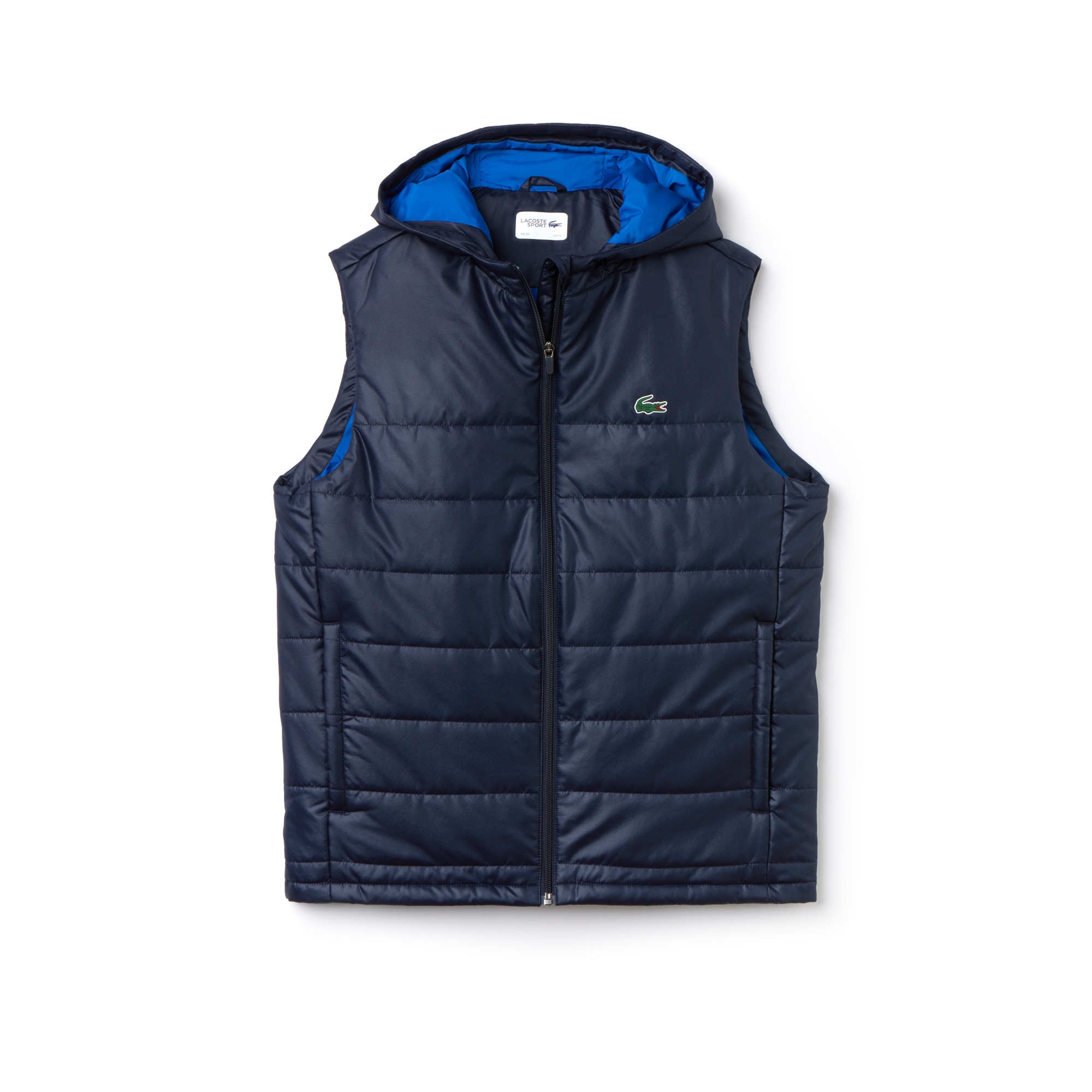 라코스테 Lacoste Mens SPORT Technical Taffeta Tennis Vest,navy blue/royal blue
