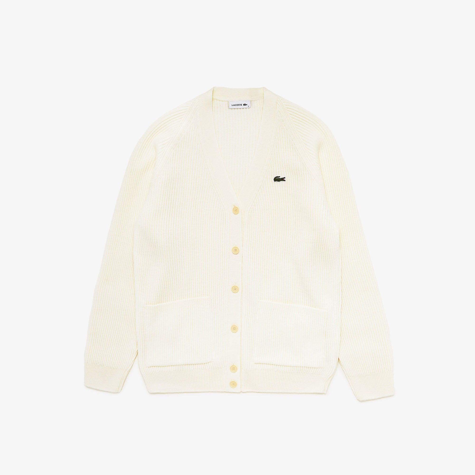 Lacoste Womens Ribbed Wool Blend V-neck Cardigan