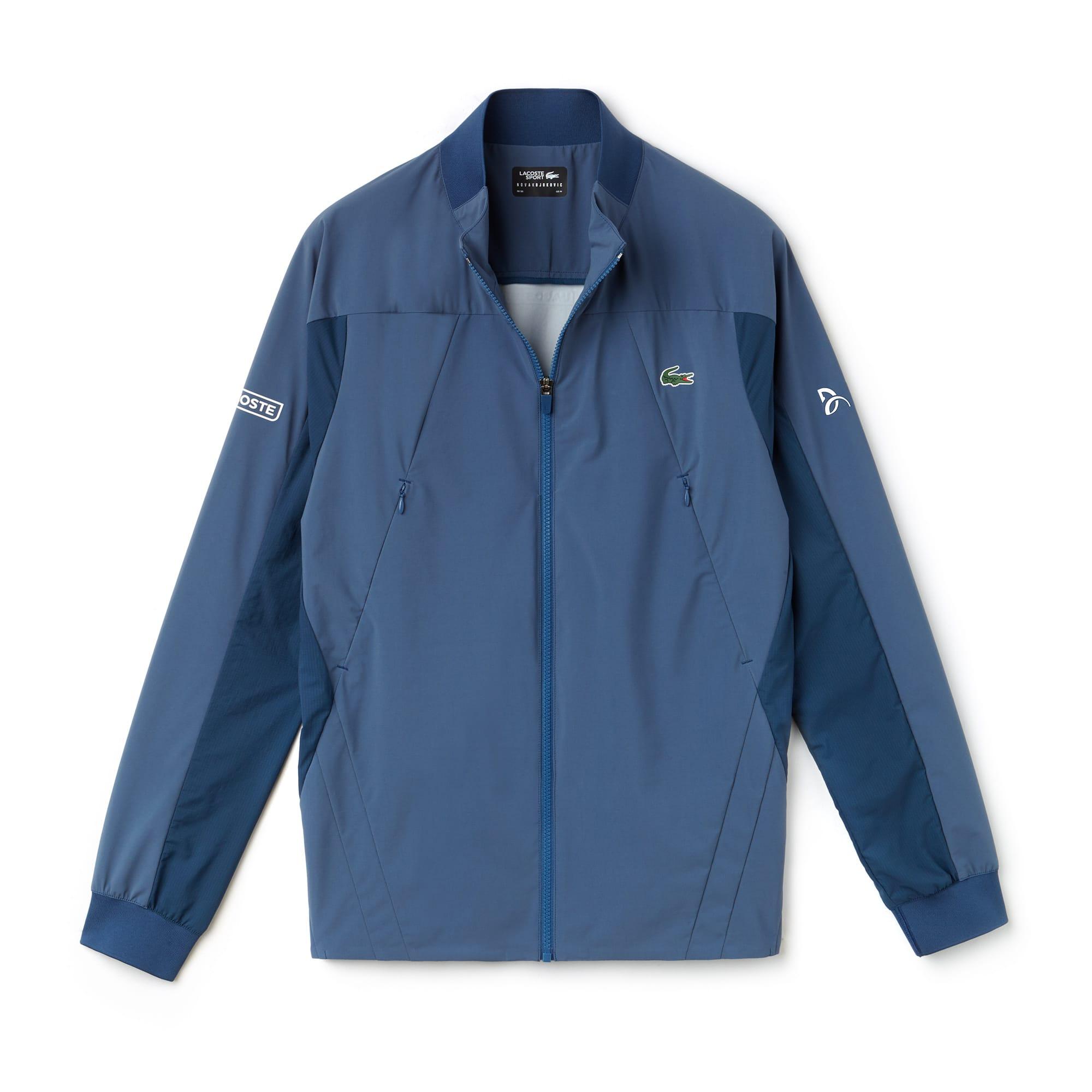 라코스테 Lacoste Mens SPORT Stand-Up Collar Taffeta Jacket - x Novak Djokovic Support With Style - Off Court Collection,avon/azurite-white