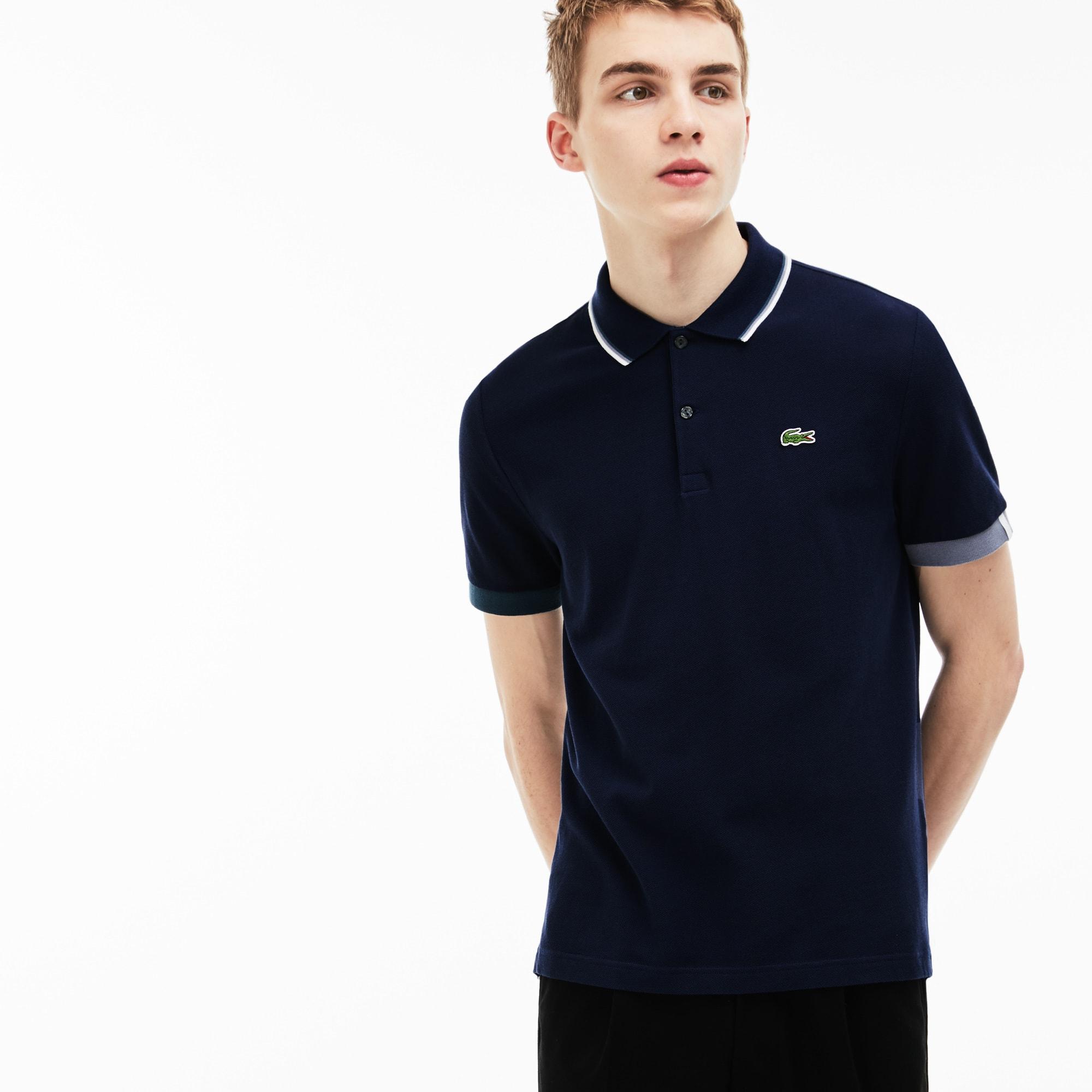 Men's LIVE Slim Fit Piped Neck Petit Piqué Polo